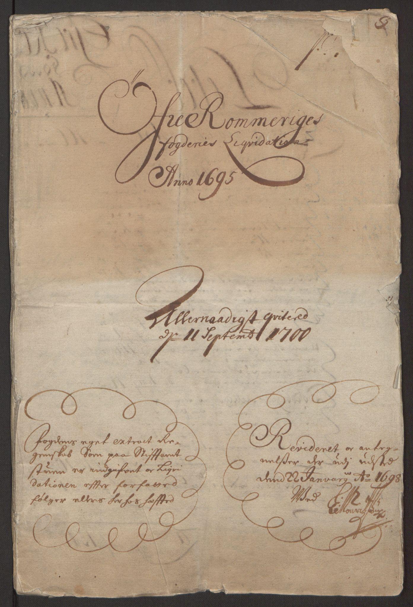 RA, Rentekammeret inntil 1814, Reviderte regnskaper, Fogderegnskap, R12/L0707: Fogderegnskap Øvre Romerike, 1695, s. 3