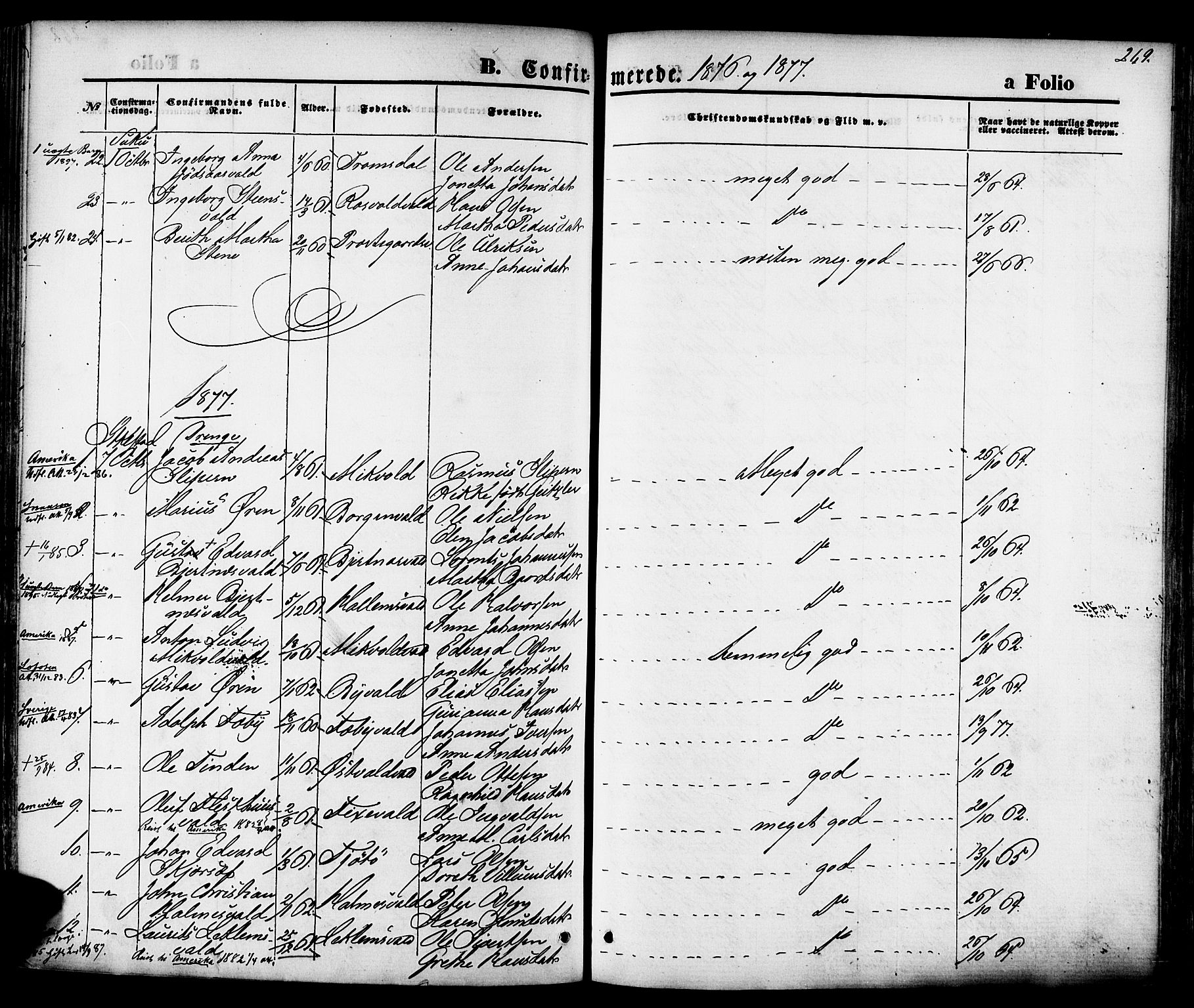 SAT, Ministerialprotokoller, klokkerbøker og fødselsregistre - Nord-Trøndelag, 723/L0242: Ministerialbok nr. 723A11, 1870-1880, s. 269