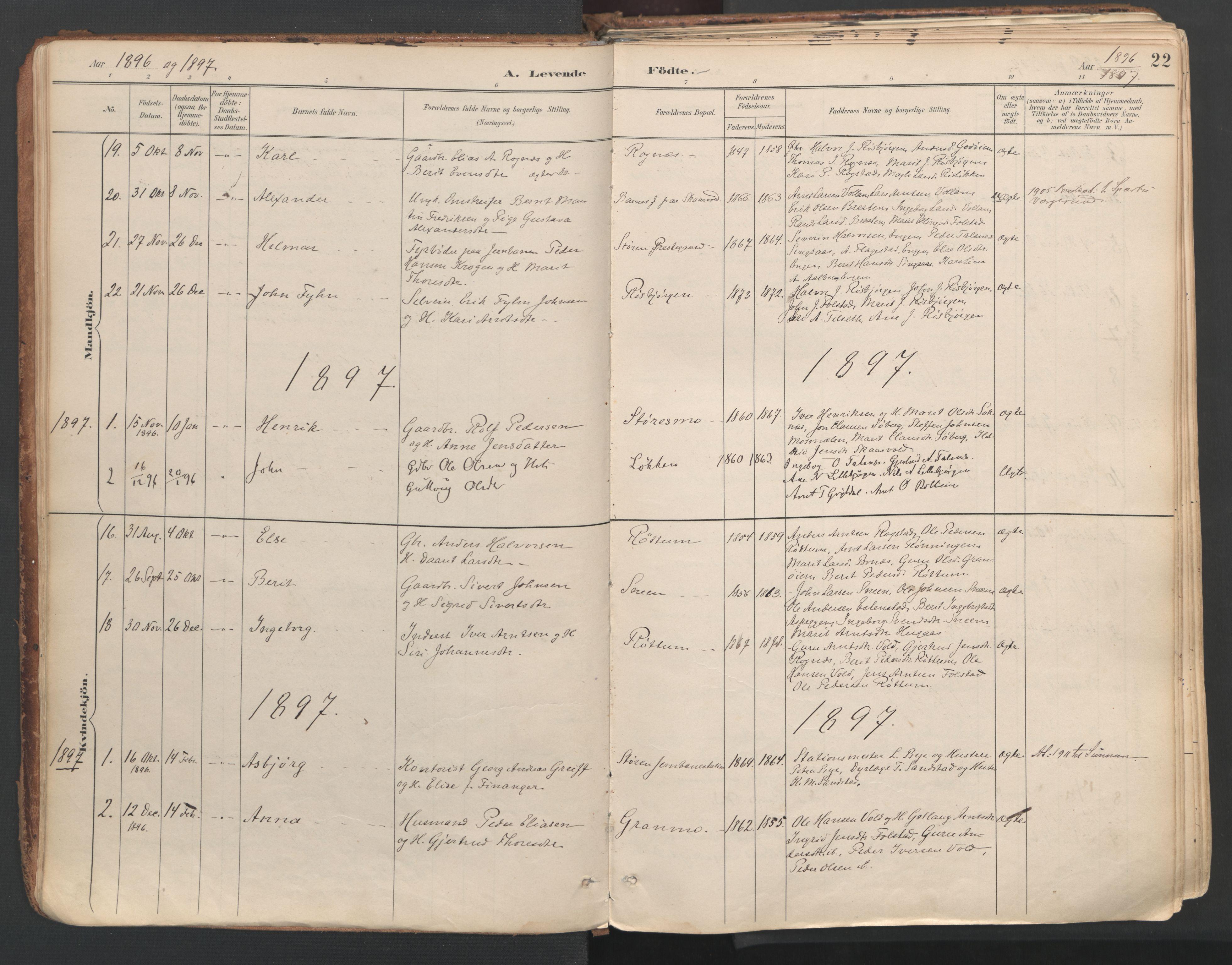 SAT, Ministerialprotokoller, klokkerbøker og fødselsregistre - Sør-Trøndelag, 687/L1004: Ministerialbok nr. 687A10, 1891-1923, s. 22