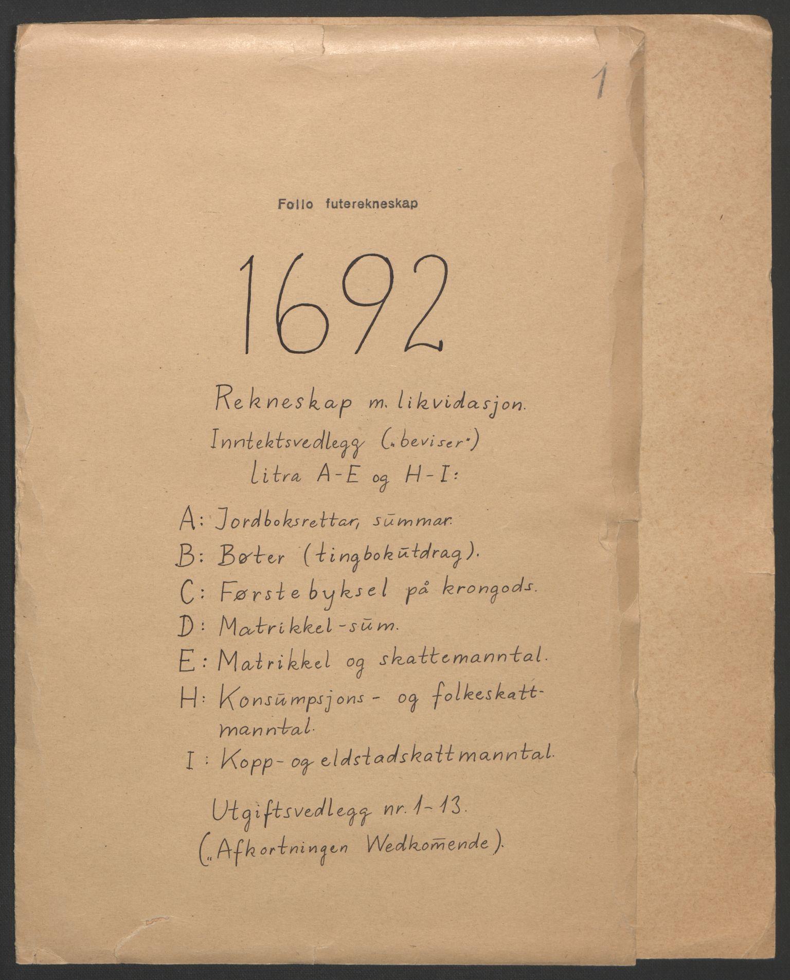 RA, Rentekammeret inntil 1814, Reviderte regnskaper, Fogderegnskap, R09/L0437: Fogderegnskap Follo, 1692-1693, s. 3