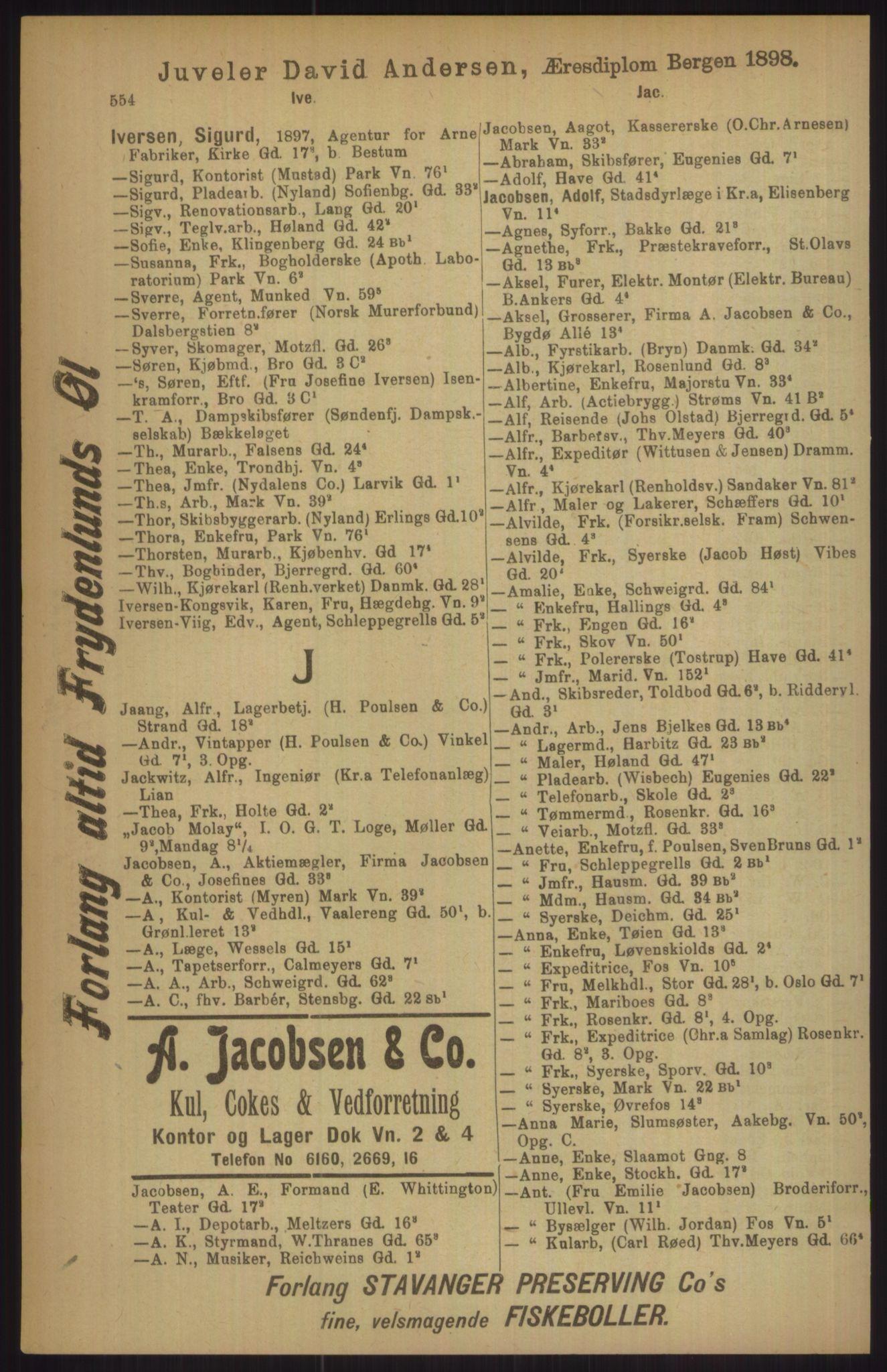 RA, Kristiania adressebok (publikasjon)*, 1911, s. 554