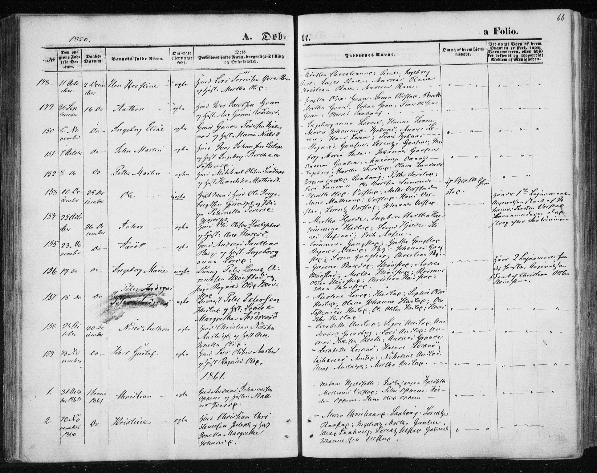 SAT, Ministerialprotokoller, klokkerbøker og fødselsregistre - Nord-Trøndelag, 730/L0283: Ministerialbok nr. 730A08, 1855-1865, s. 66