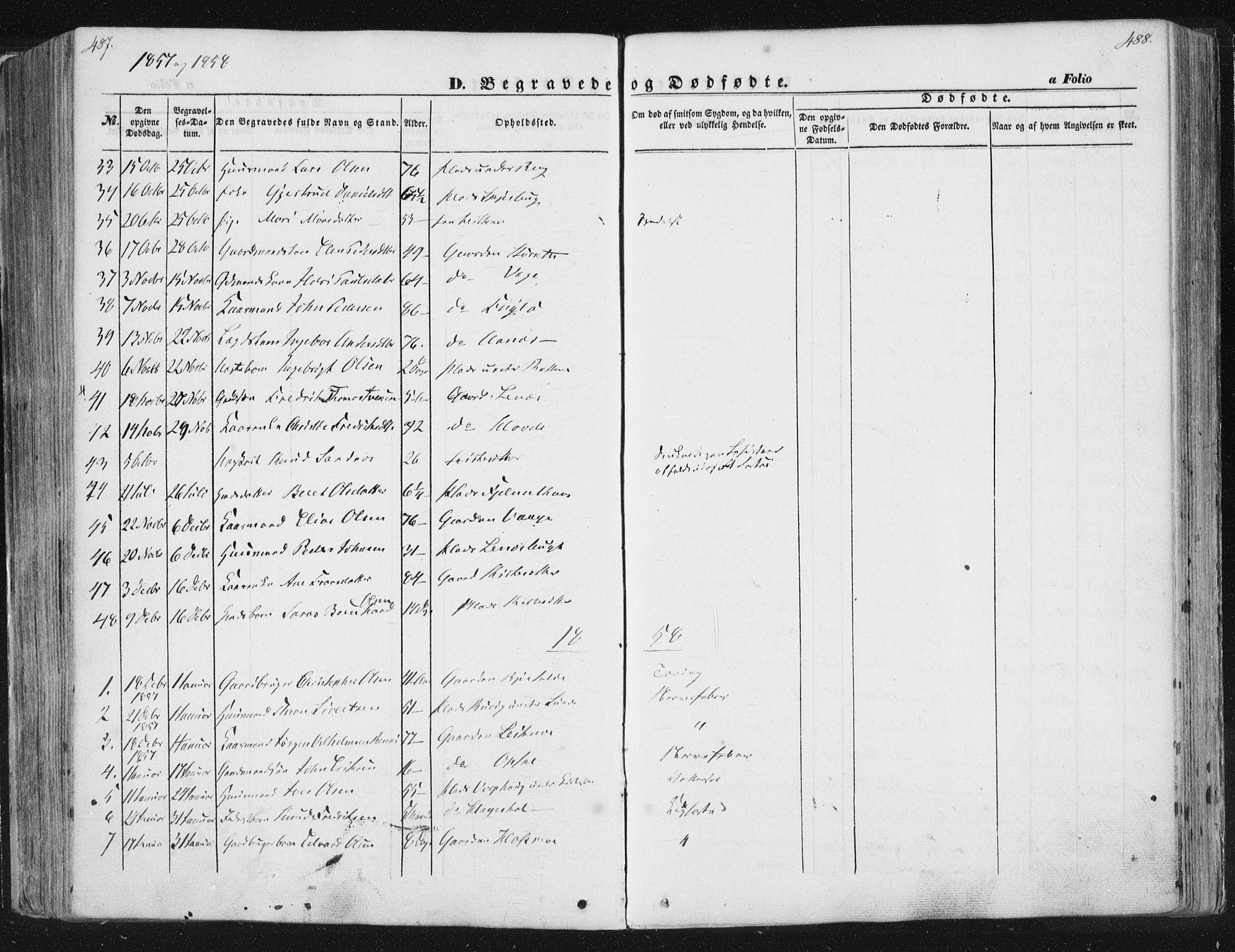 SAT, Ministerialprotokoller, klokkerbøker og fødselsregistre - Sør-Trøndelag, 630/L0494: Ministerialbok nr. 630A07, 1852-1868, s. 487-488