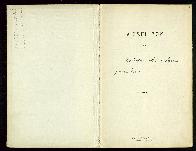 SAST, Haugesund tingrett, III/IIID/L0001: Vigselbok, 1920-1938, s. 1