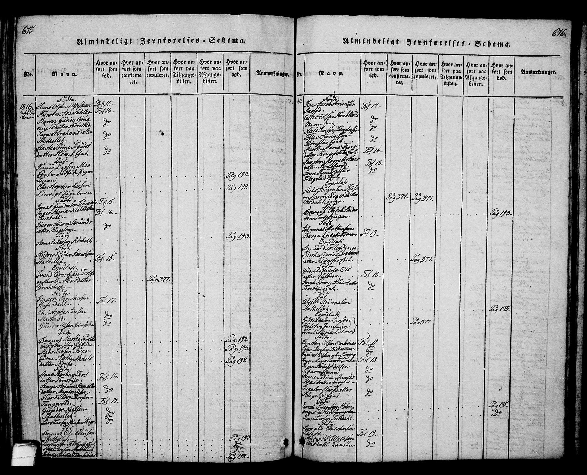 SAKO, Bamble kirkebøker, G/Ga/L0005: Klokkerbok nr. I 5, 1814-1855, s. 675-676