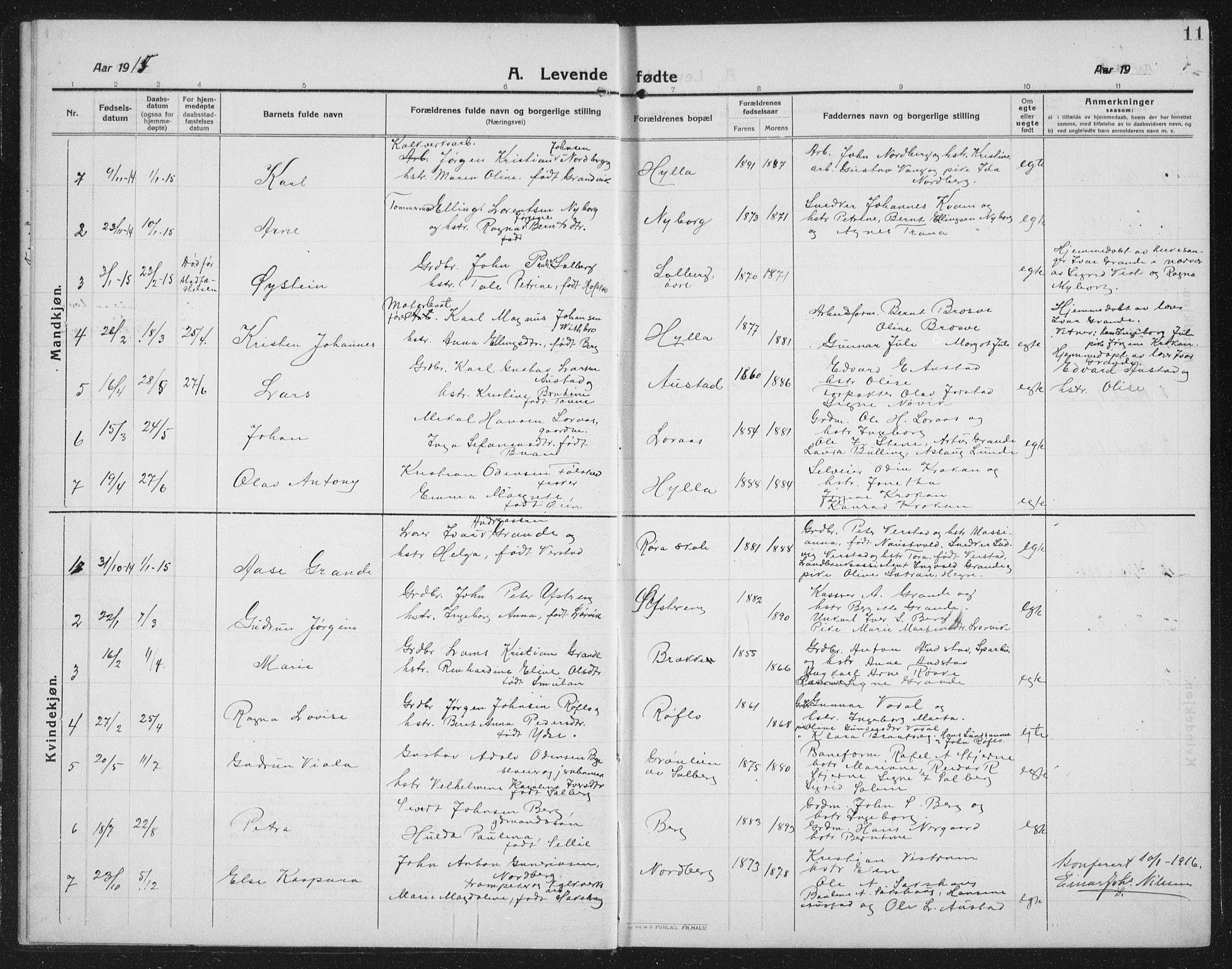 SAT, Ministerialprotokoller, klokkerbøker og fødselsregistre - Nord-Trøndelag, 731/L0312: Klokkerbok nr. 731C03, 1911-1935, s. 11