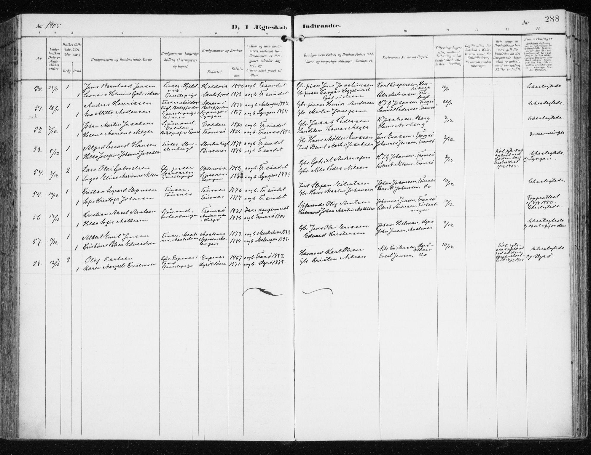 SATØ, Tromsøysund sokneprestkontor, G/Ga/L0006kirke: Ministerialbok nr. 6, 1897-1906, s. 288
