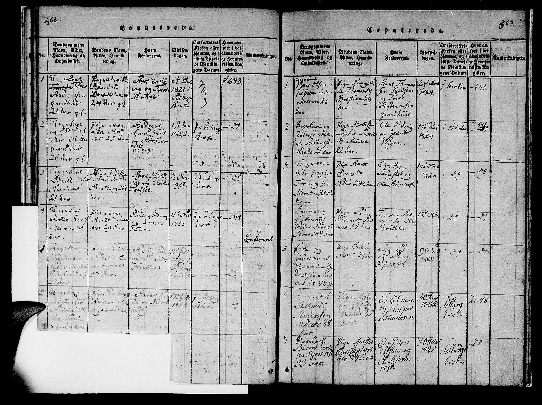 SAT, Ministerialprotokoller, klokkerbøker og fødselsregistre - Nord-Trøndelag, 745/L0433: Klokkerbok nr. 745C02, 1817-1825, s. 266-267