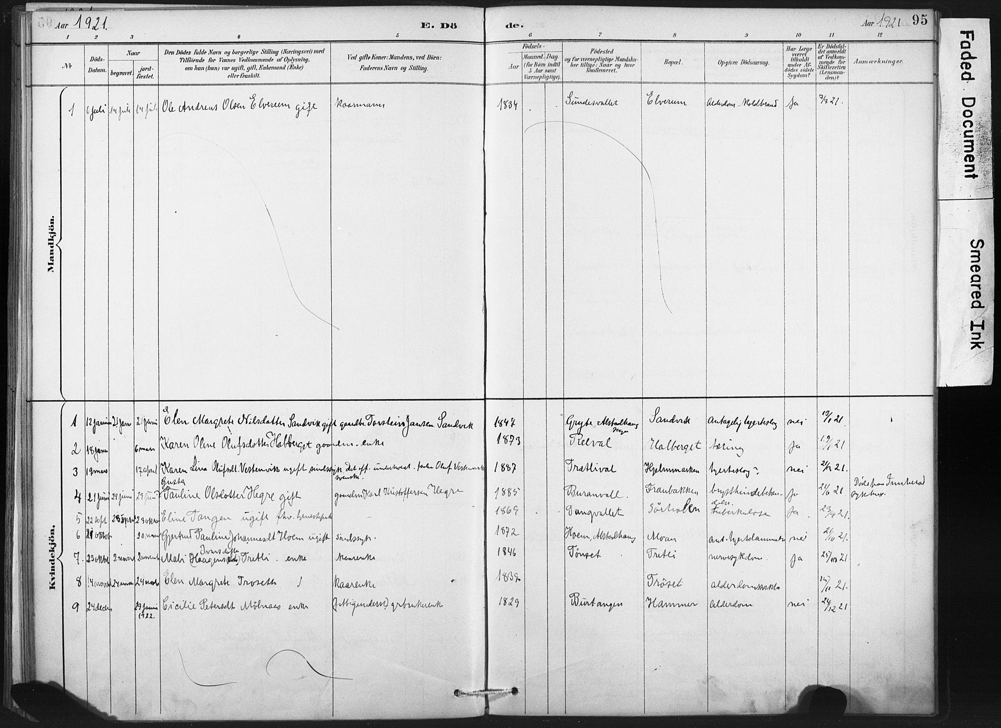 SAT, Ministerialprotokoller, klokkerbøker og fødselsregistre - Nord-Trøndelag, 718/L0175: Ministerialbok nr. 718A01, 1890-1923, s. 95
