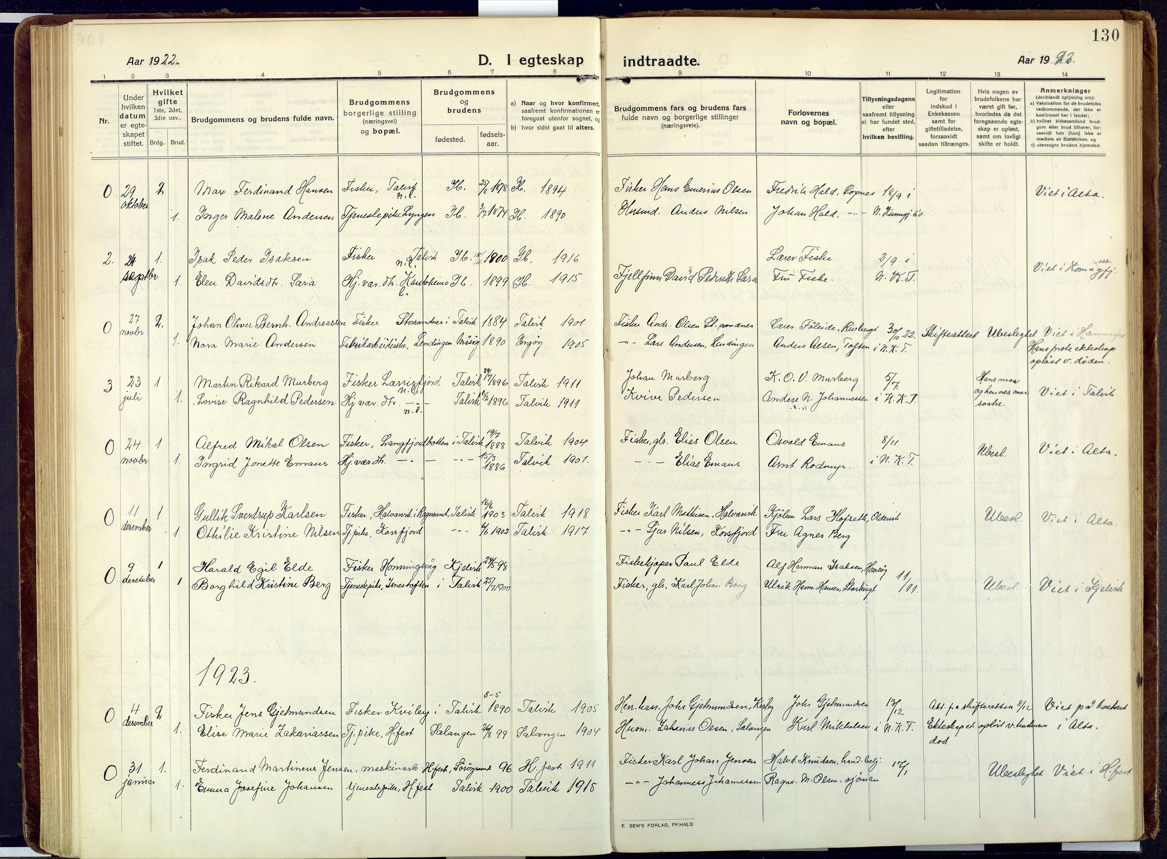 SATØ, Talvik sokneprestkontor, H/Ha/L0018kirke: Ministerialbok nr. 18, 1915-1924, s. 130