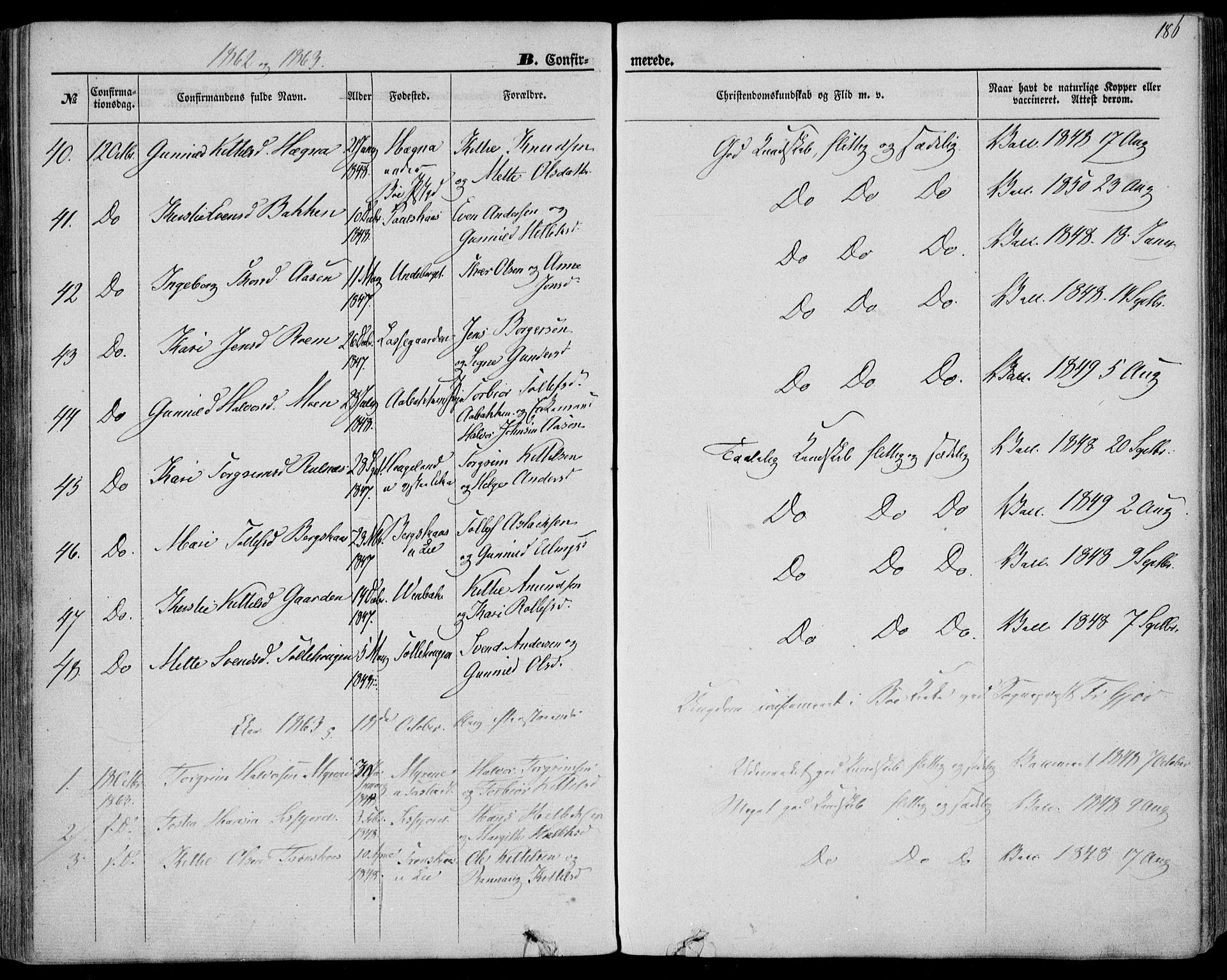 SAKO, Bø kirkebøker, F/Fa/L0009: Ministerialbok nr. 9, 1862-1879, s. 186
