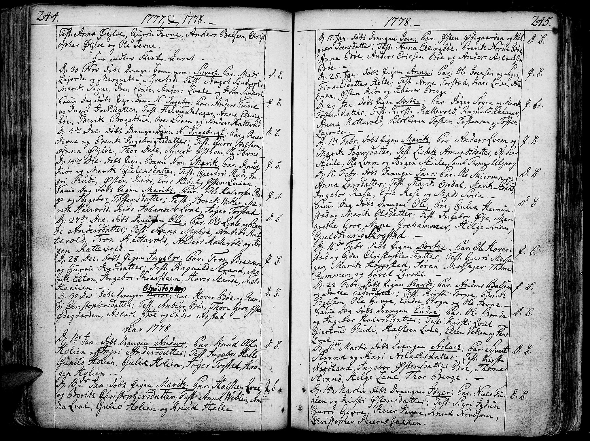 SAH, Vang prestekontor, Valdres, Ministerialbok nr. 1, 1730-1796, s. 244-245