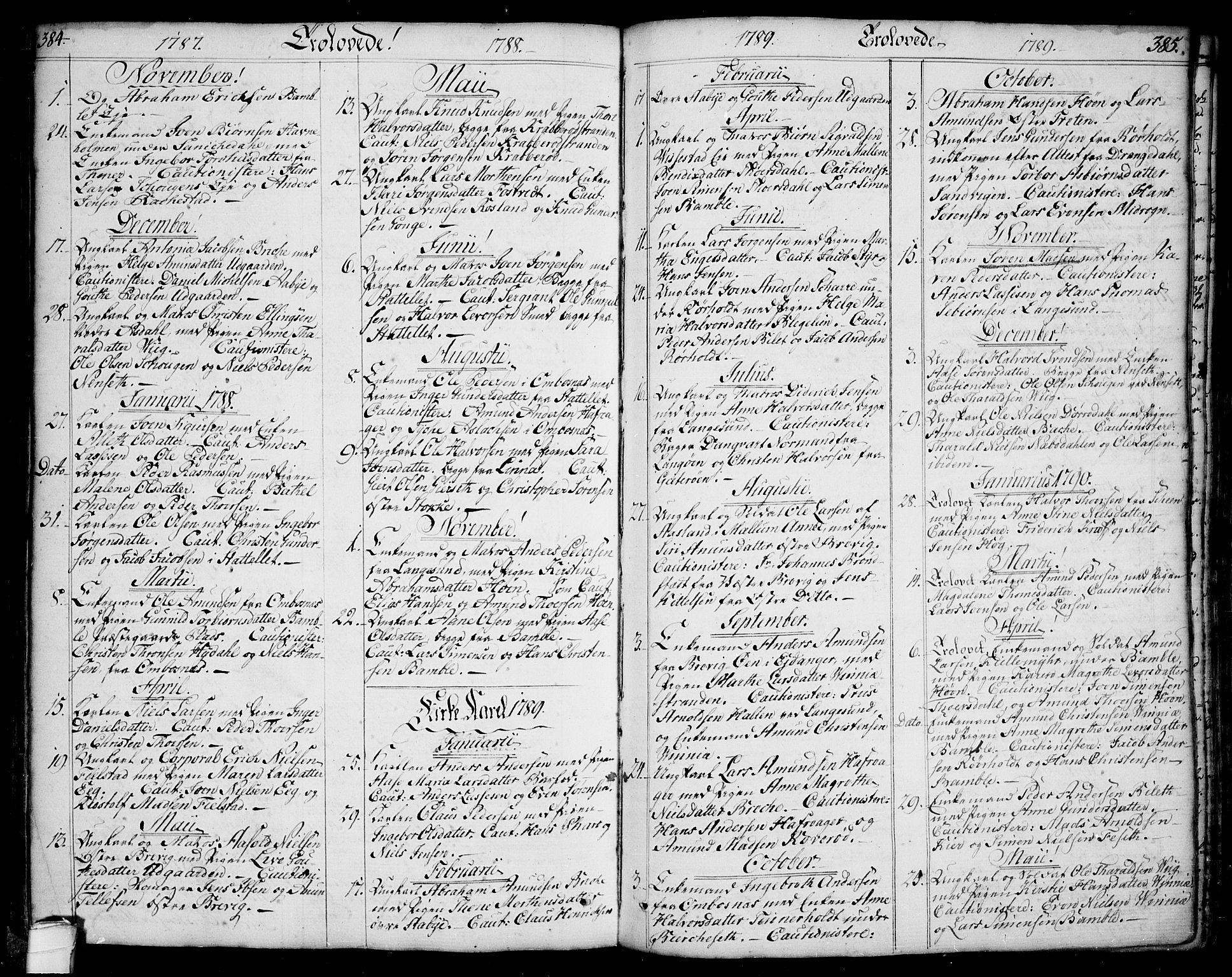 SAKO, Bamble kirkebøker, F/Fa/L0002: Ministerialbok nr. I 2, 1775-1814, s. 384-385