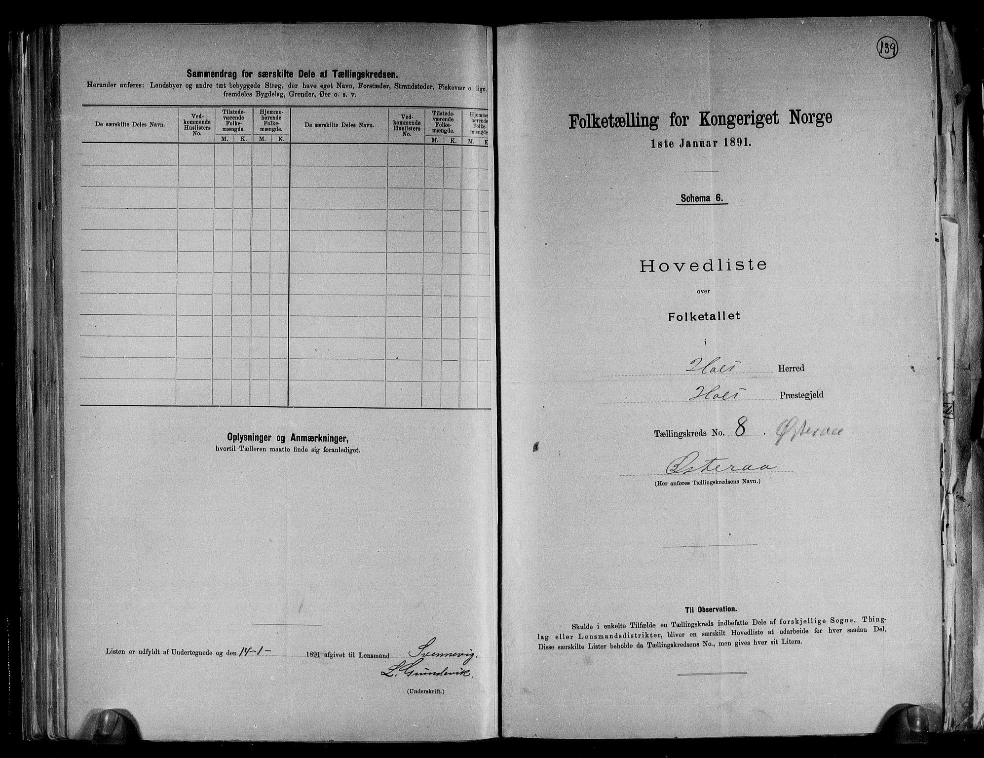 RA, Folketelling 1891 for 0914 Holt herred, 1891, s. 21