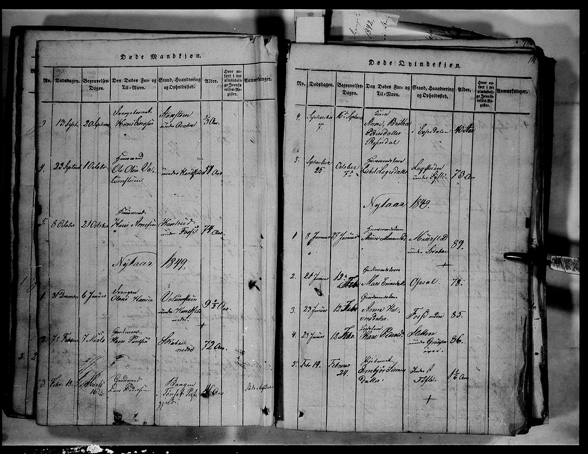 SAH, Fron prestekontor, H/Ha/Hab/L0003: Klokkerbok nr. 3, 1816-1850, s. 119