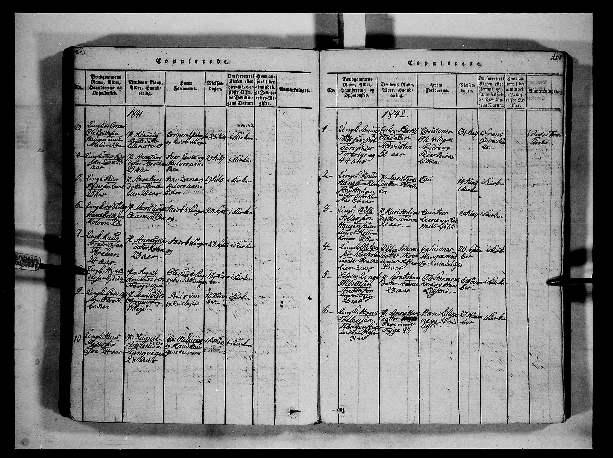 SAH, Fron prestekontor, H/Ha/Hab/L0002: Klokkerbok nr. 2, 1816-1850, s. 201