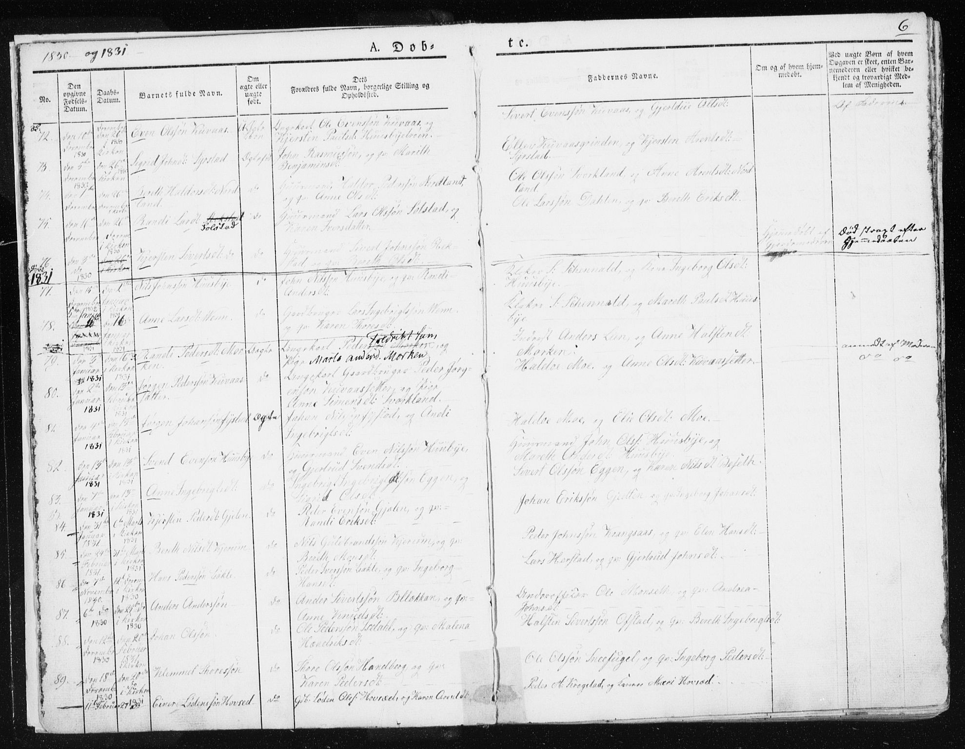 SAT, Ministerialprotokoller, klokkerbøker og fødselsregistre - Sør-Trøndelag, 665/L0771: Ministerialbok nr. 665A06, 1830-1856, s. 6