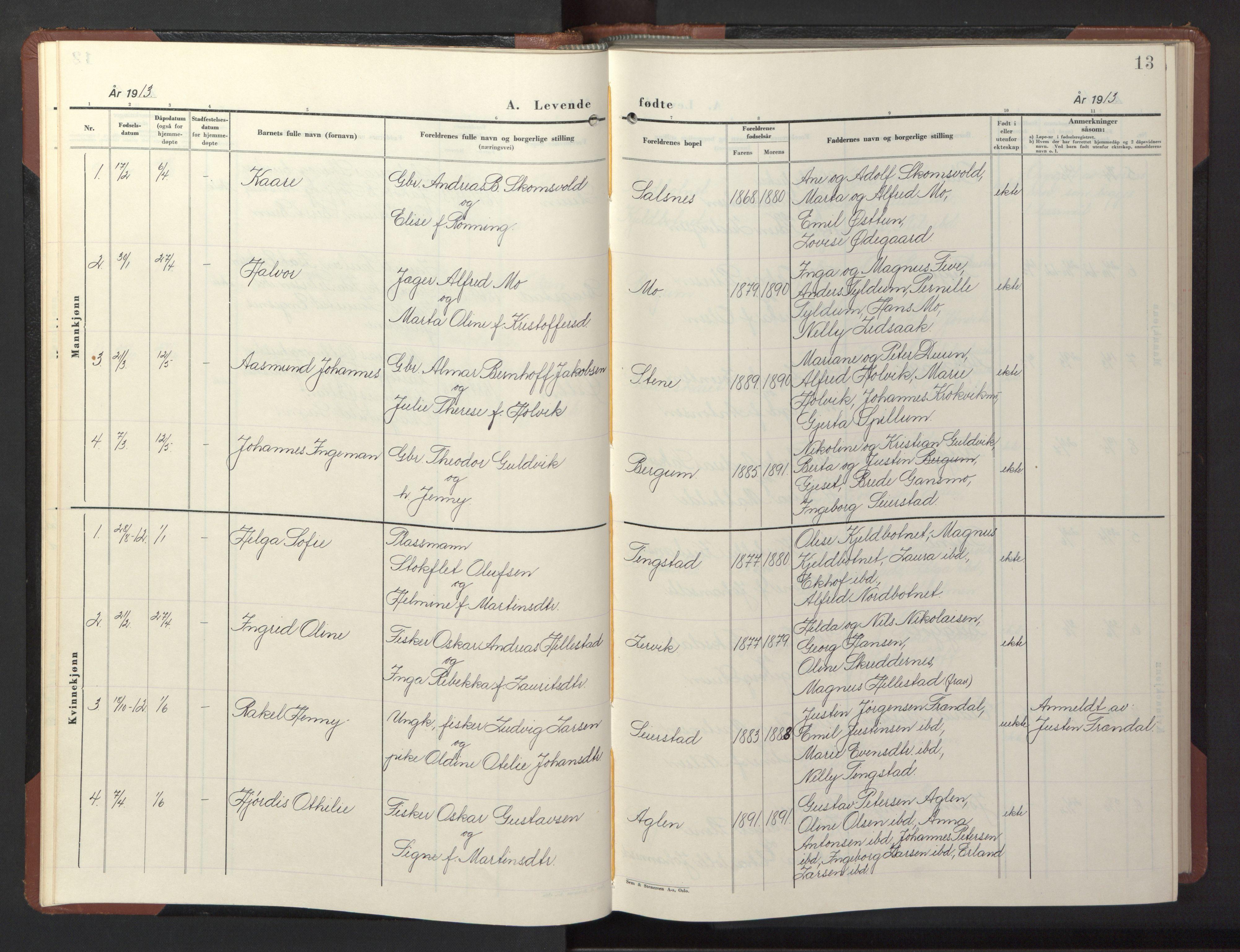 SAT, Ministerialprotokoller, klokkerbøker og fødselsregistre - Nord-Trøndelag, 773/L0625: Klokkerbok nr. 773C01, 1910-1952, s. 13