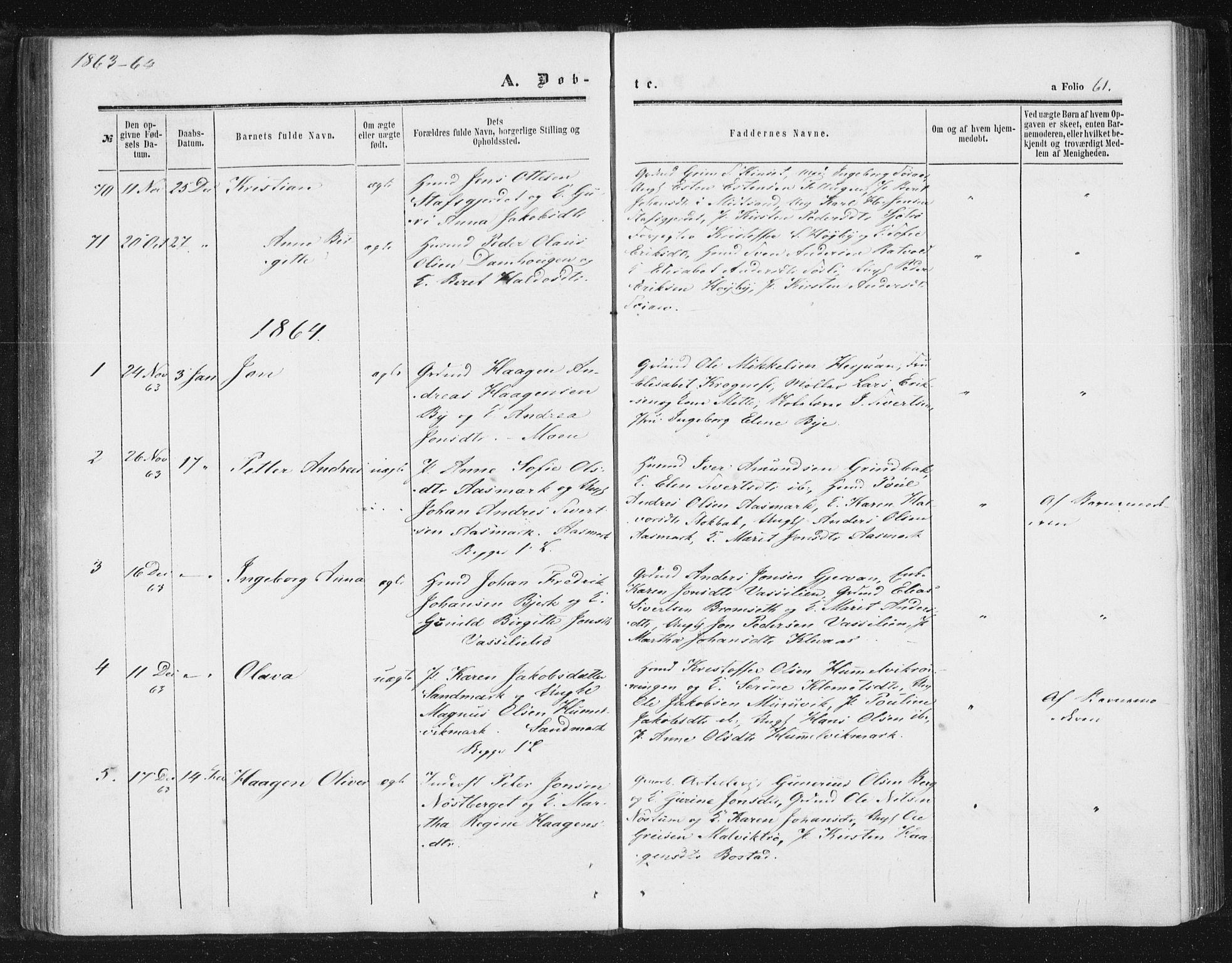 SAT, Ministerialprotokoller, klokkerbøker og fødselsregistre - Sør-Trøndelag, 616/L0408: Ministerialbok nr. 616A05, 1857-1865, s. 61