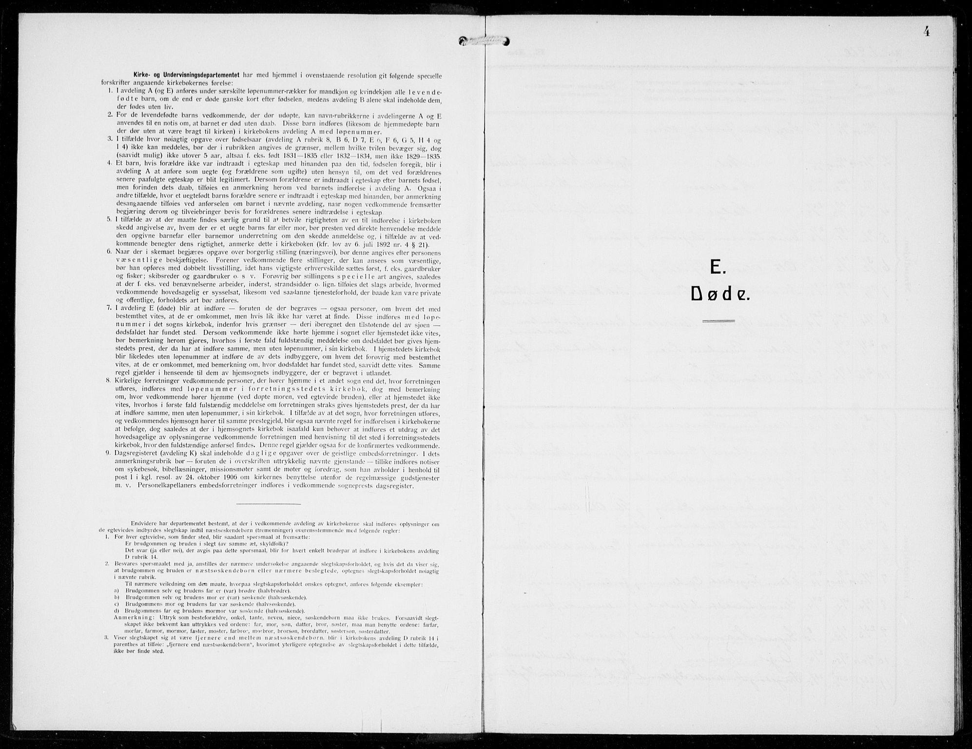 SAB, Odda Sokneprestembete, H/Hab: Klokkerbok nr. E 1, 1910-1940, s. 4