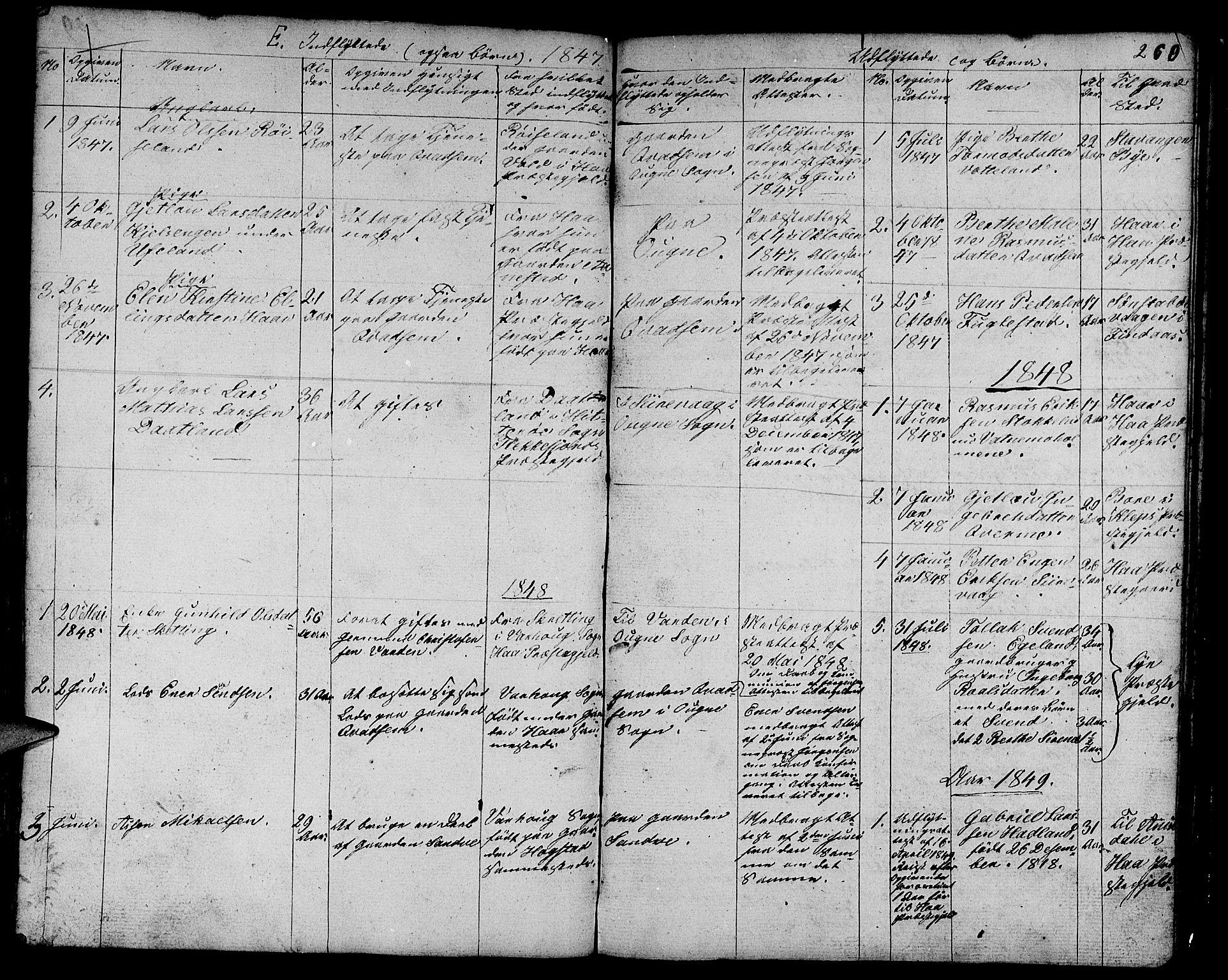 SAST, Egersund sokneprestkontor, Klokkerbok nr. B 3, 1846-1875, s. 260