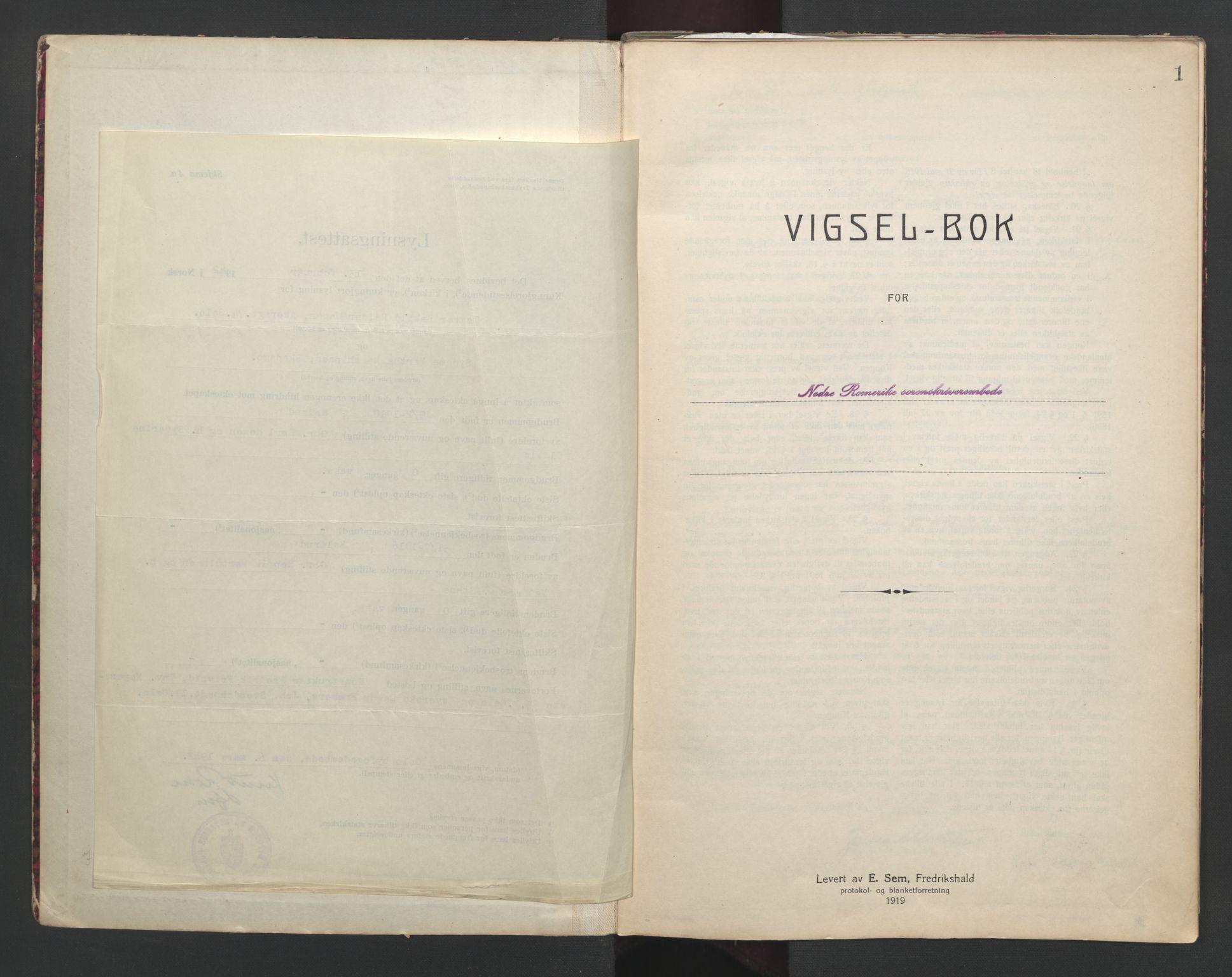 SAO, Nedre Romerike sorenskriveri, L/Lb/L0002: Vigselsbok - borgerlige vielser, 1935-1942, s. 1