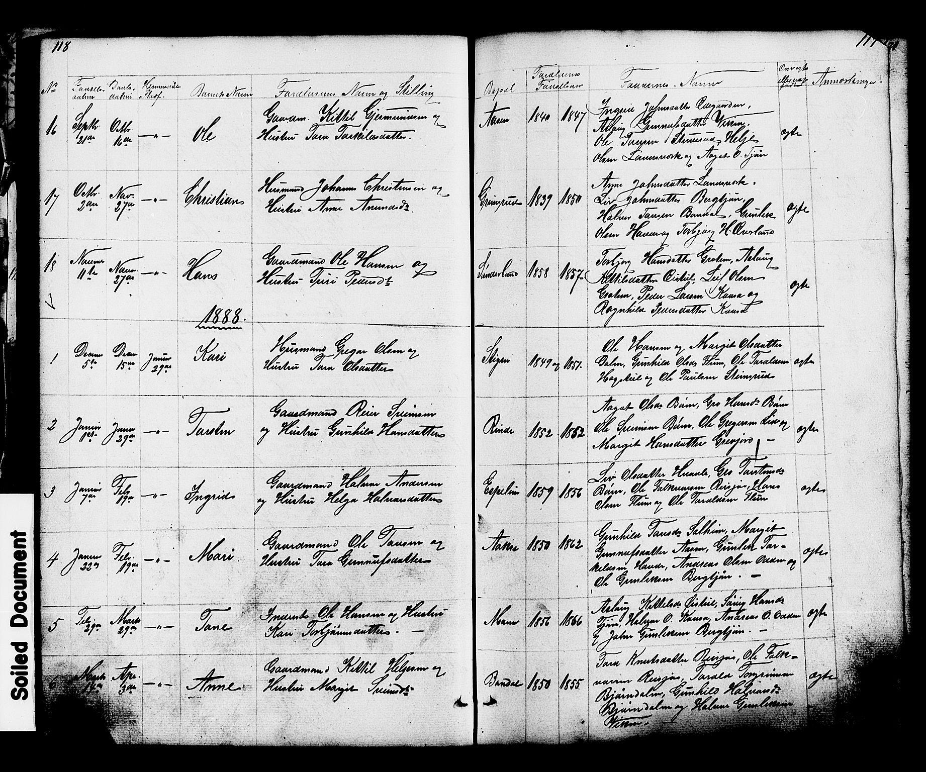 SAKO, Hjartdal kirkebøker, G/Gc/L0002: Klokkerbok nr. III 2, 1854-1890, s. 118-119
