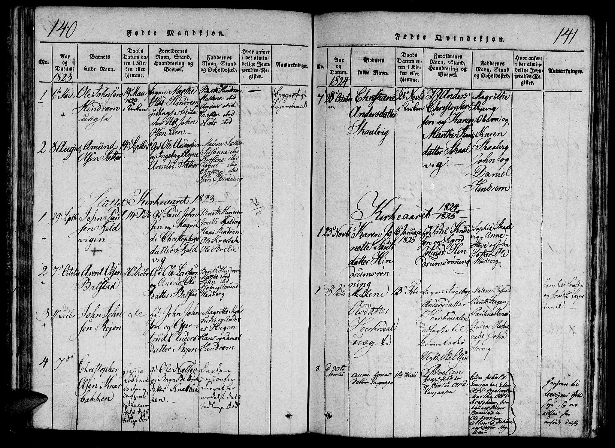 SAT, Ministerialprotokoller, klokkerbøker og fødselsregistre - Nord-Trøndelag, 701/L0005: Ministerialbok nr. 701A05 /2, 1816-1825, s. 140-141