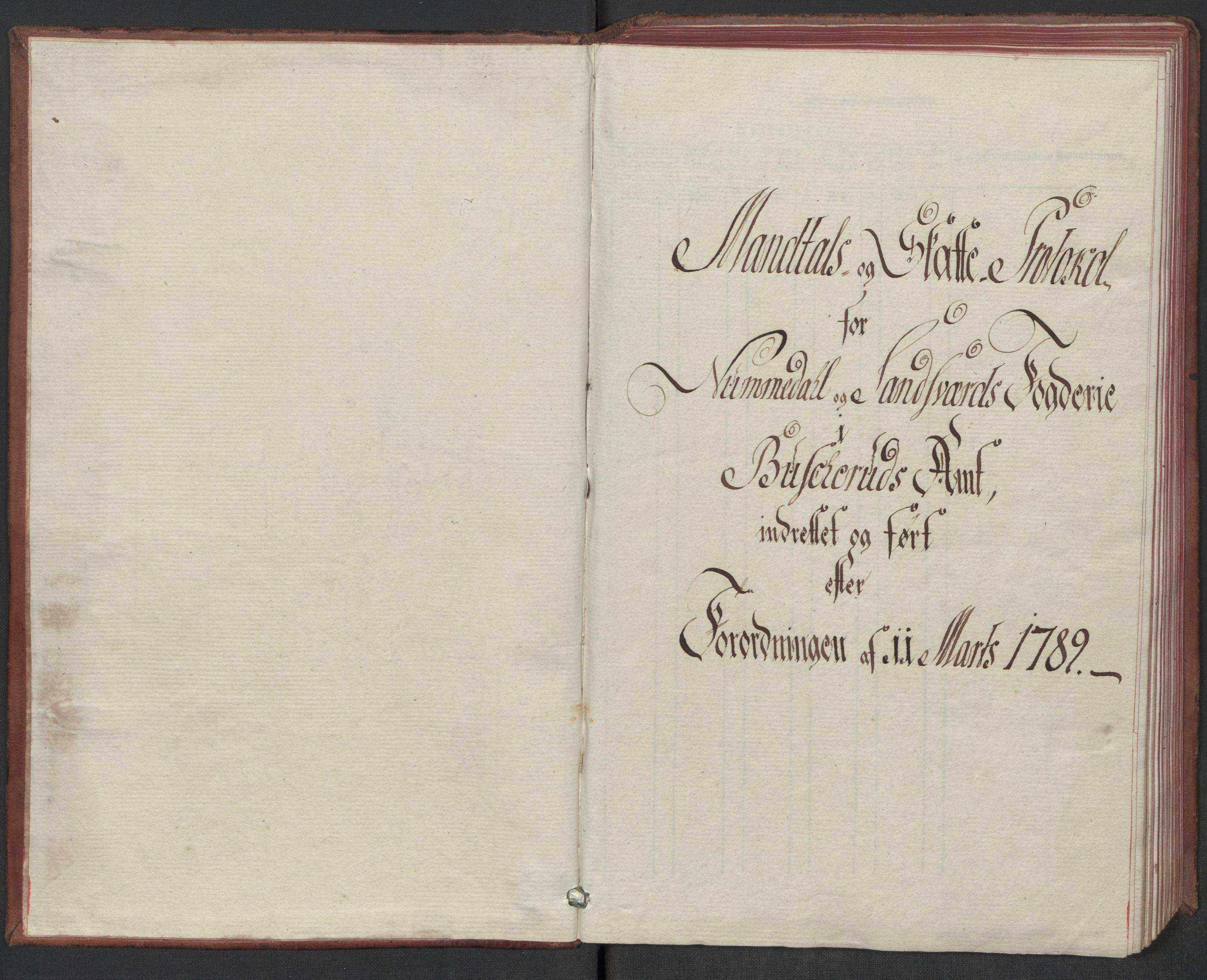 RA, Rentekammeret inntil 1814, Reviderte regnskaper, Mindre regnskaper, Rf/Rfe/L0032: Numedal og Sandsvær fogderi, Orkdal og Gauldal fogderi, 1789, s. 5