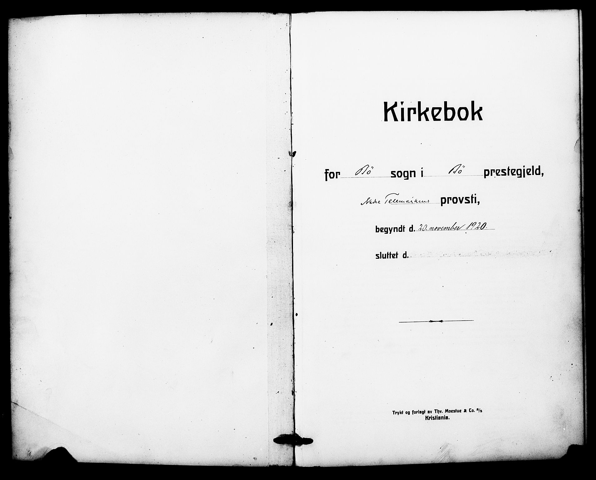 SAKO, Bø kirkebøker, G/Ga/L0008: Klokkerbok nr. 8, 1920-1930