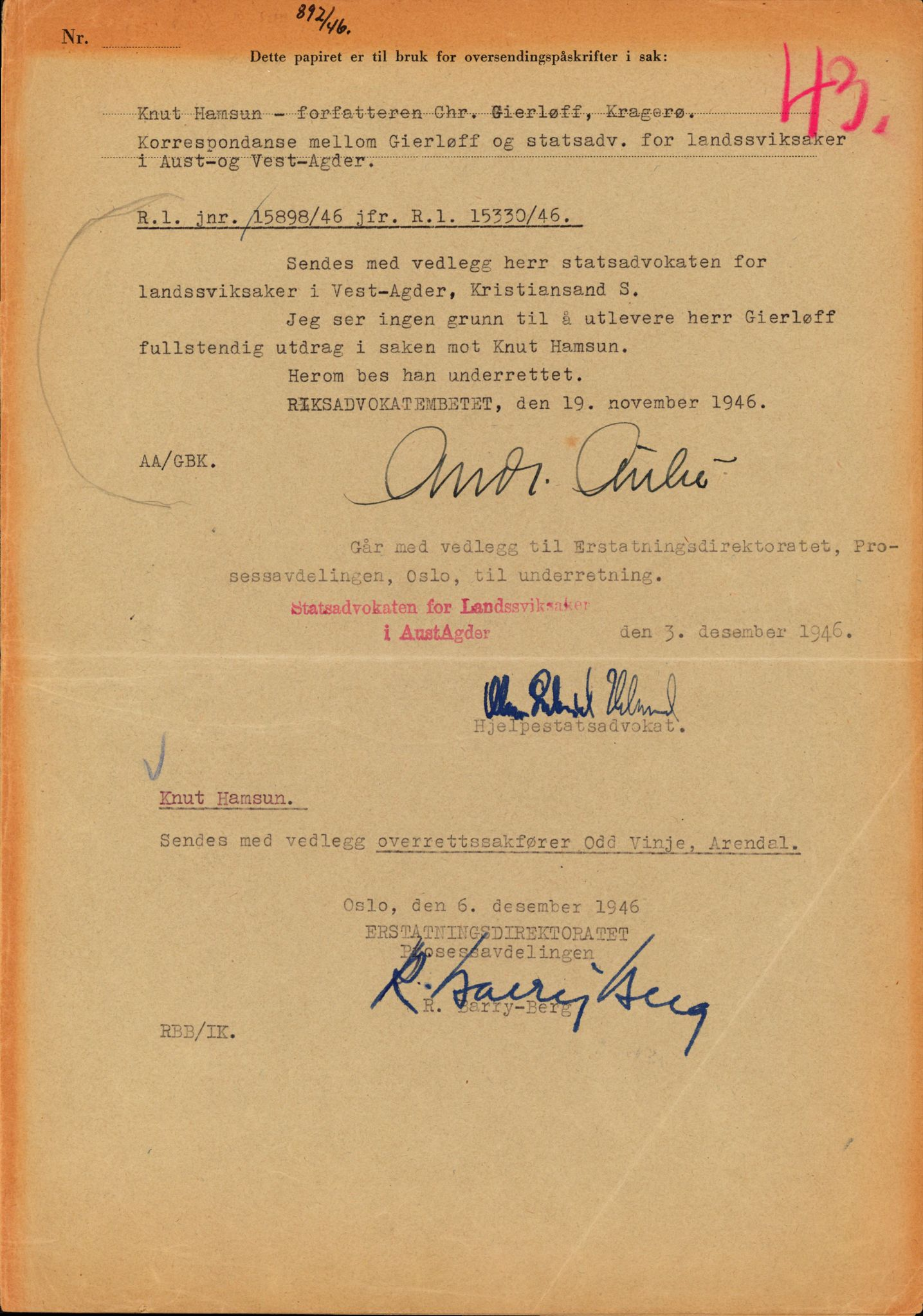 RA, Landssvikarkivet, Arendal politikammer, D/Dc/L0029: Anr. 192/45, 1945-1951, s. 399