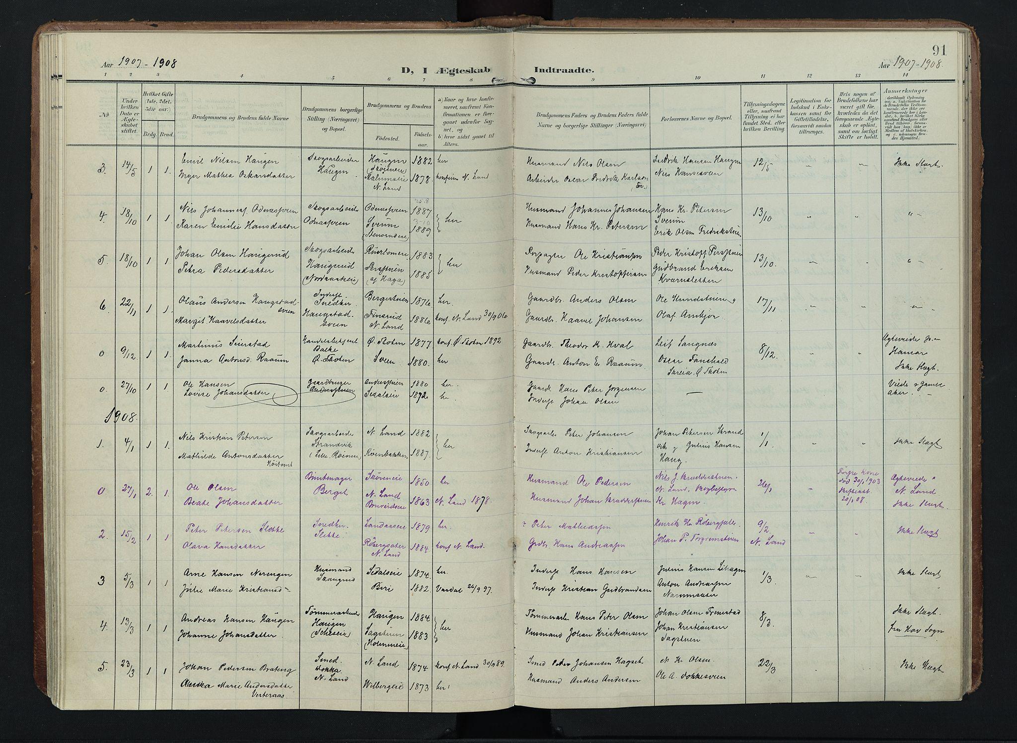 SAH, Søndre Land prestekontor, K/L0005: Ministerialbok nr. 5, 1905-1914, s. 91