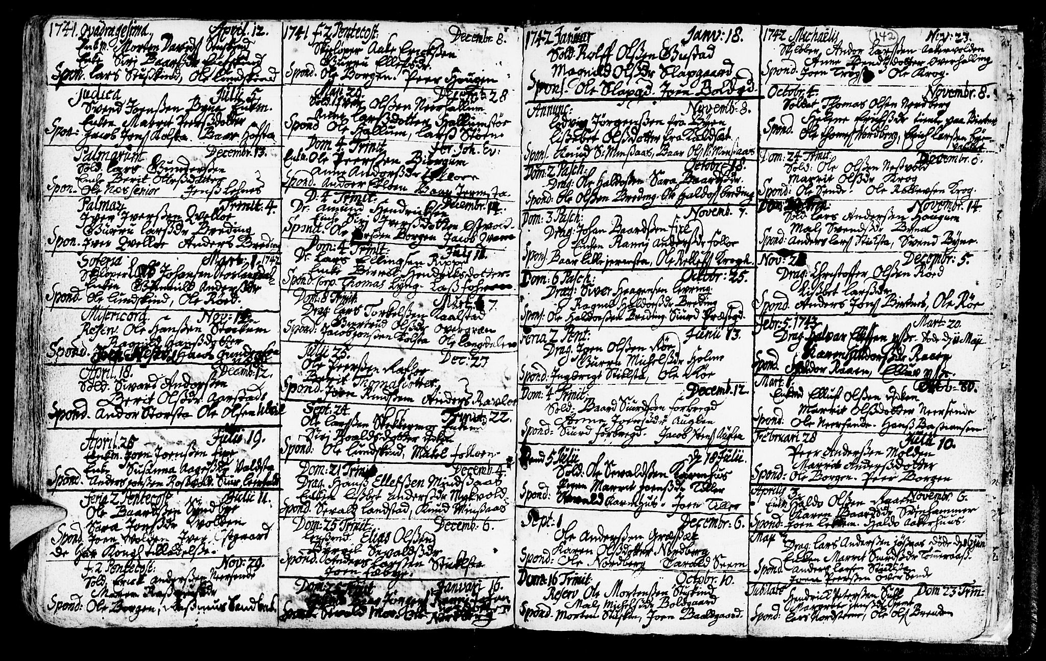SAT, Ministerialprotokoller, klokkerbøker og fødselsregistre - Nord-Trøndelag, 723/L0230: Ministerialbok nr. 723A01, 1705-1747, s. 142
