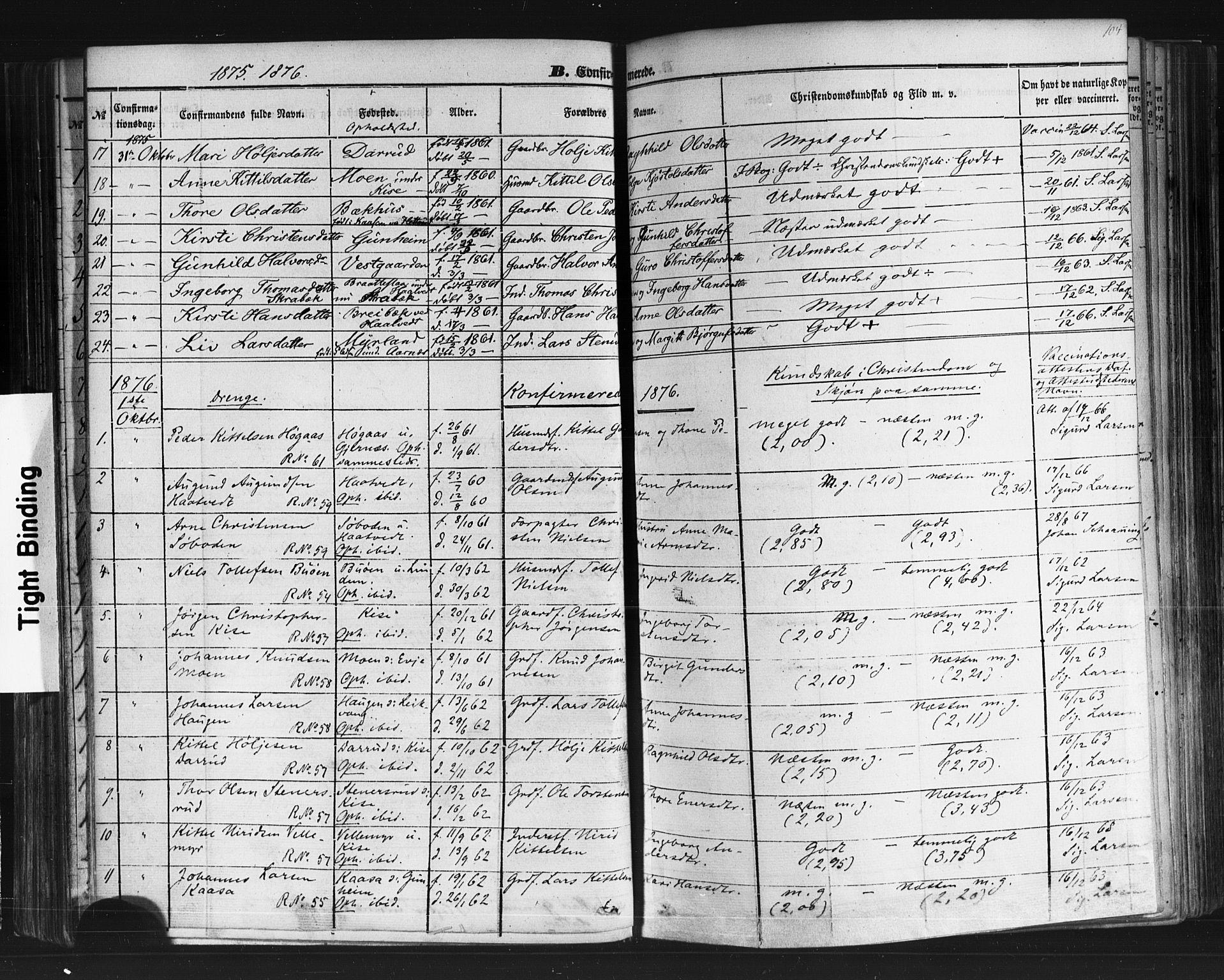 SAKO, Sauherad kirkebøker, F/Fb/L0001: Ministerialbok nr. II 1, 1851-1877, s. 104