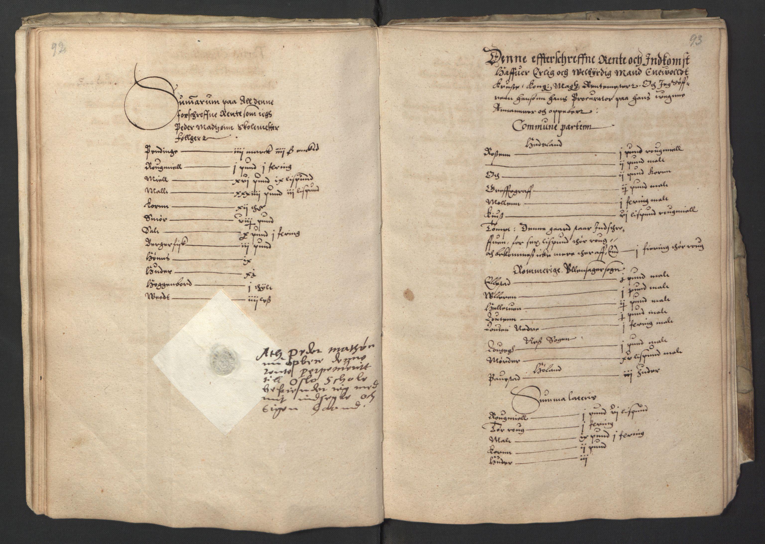RA, Stattholderembetet 1572-1771, Ek/L0001: Jordebøker før 1624 og til utligning av garnisonsskatt 1624-1626:, 1595, s. 92-93