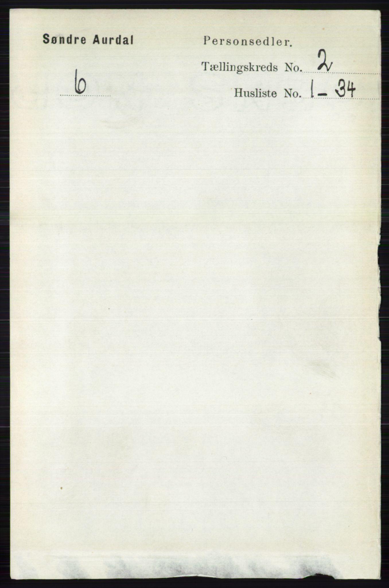 RA, Folketelling 1891 for 0540 Sør-Aurdal herred, 1891, s. 831