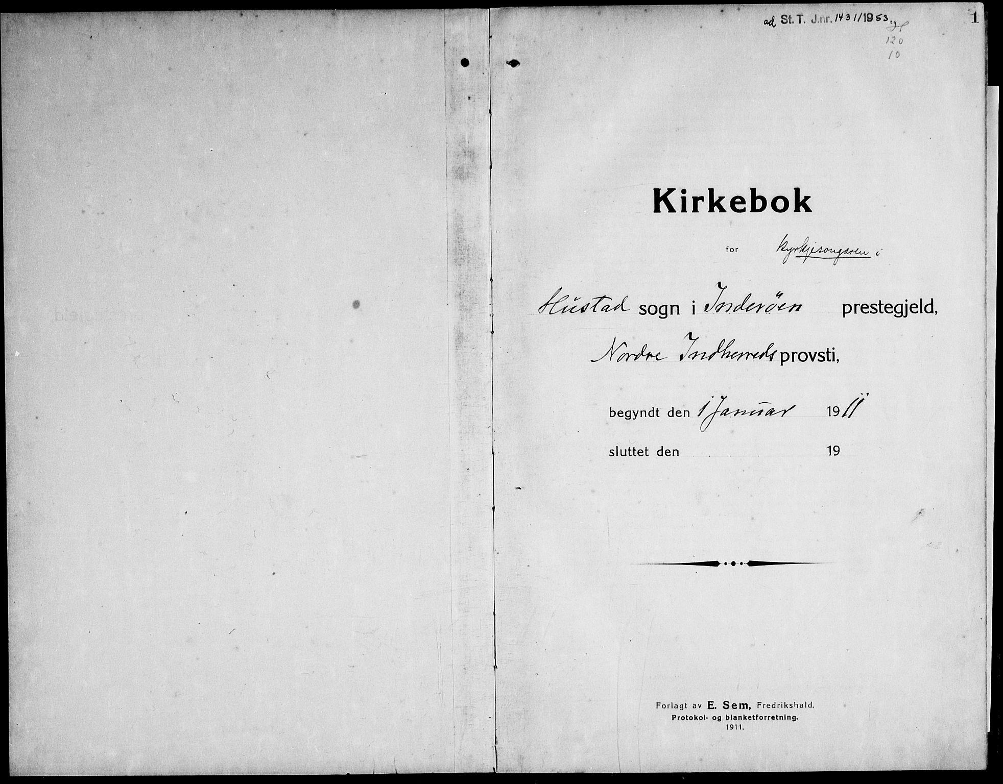 SAT, Ministerialprotokoller, klokkerbøker og fødselsregistre - Nord-Trøndelag, 732/L0319: Klokkerbok nr. 732C03, 1911-1945, s. 1