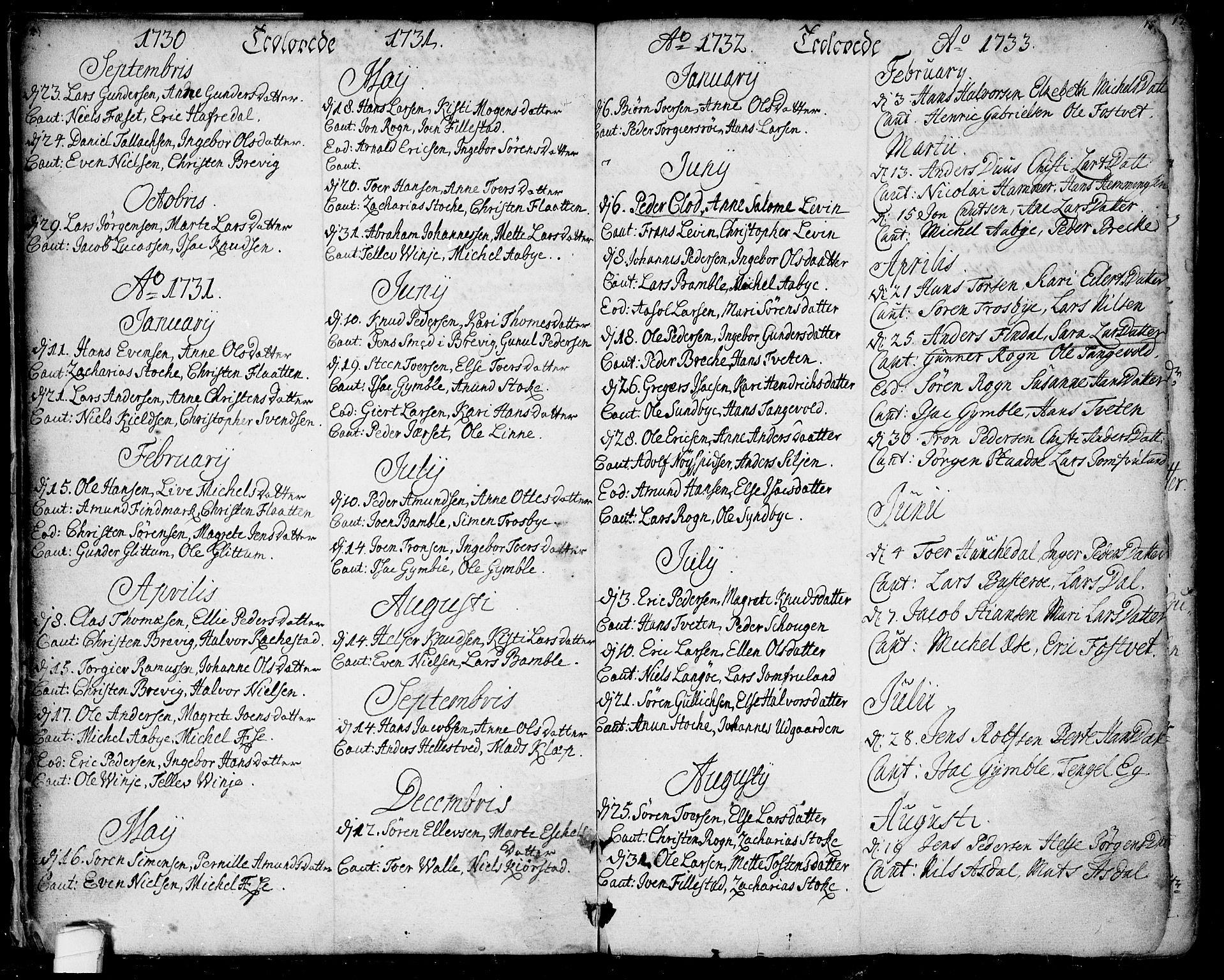 SAKO, Bamble kirkebøker, F/Fa/L0001: Ministerialbok nr. I 1, 1702-1774, s. 14-15