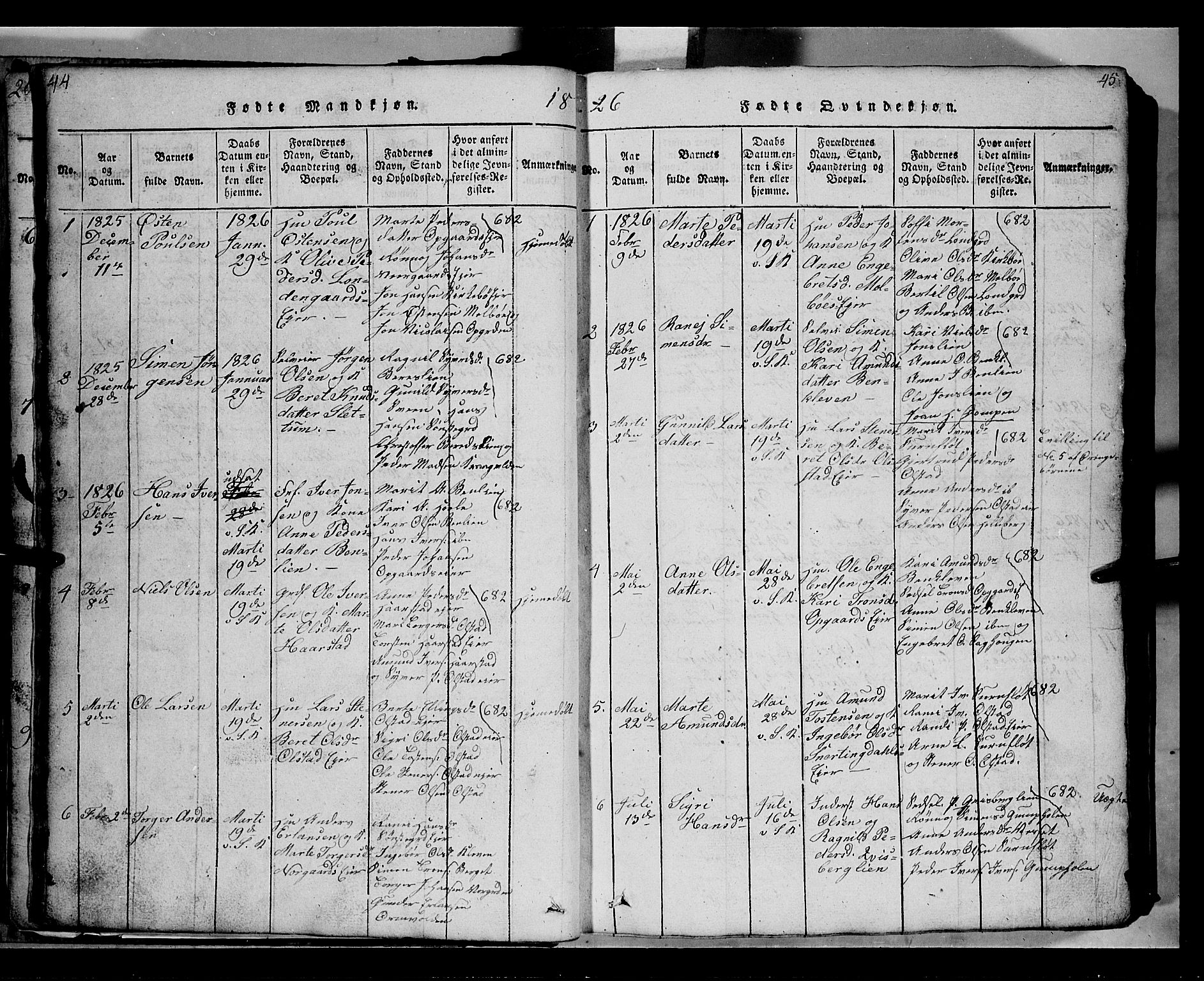 SAH, Gausdal prestekontor, Klokkerbok nr. 2, 1818-1874, s. 44-45