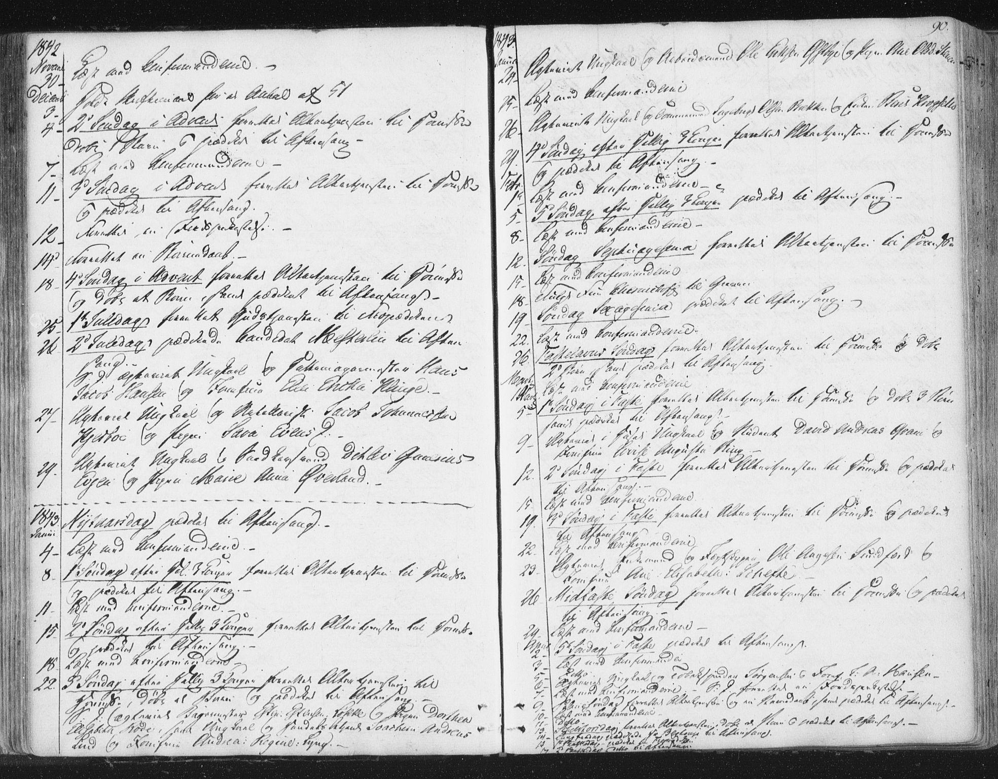 SAT, Ministerialprotokoller, klokkerbøker og fødselsregistre - Sør-Trøndelag, 602/L0127: Residerende kapellans bok nr. 602B01, 1821-1875, s. 90