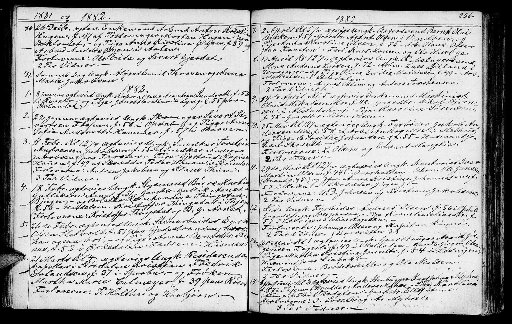 SAT, Ministerialprotokoller, klokkerbøker og fødselsregistre - Sør-Trøndelag, 602/L0142: Klokkerbok nr. 602C10, 1872-1894, s. 266