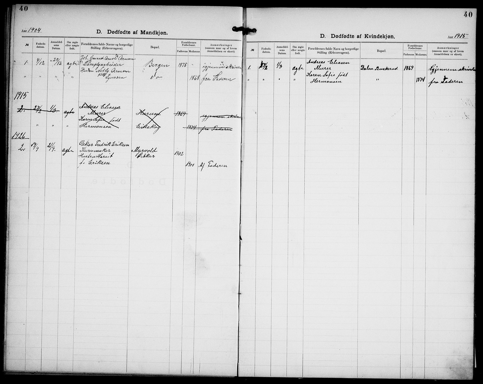 SAO, Kristi menighet Oslo , A/L0001: Dissenterprotokoll nr. 1, 1903-1938, s. 40