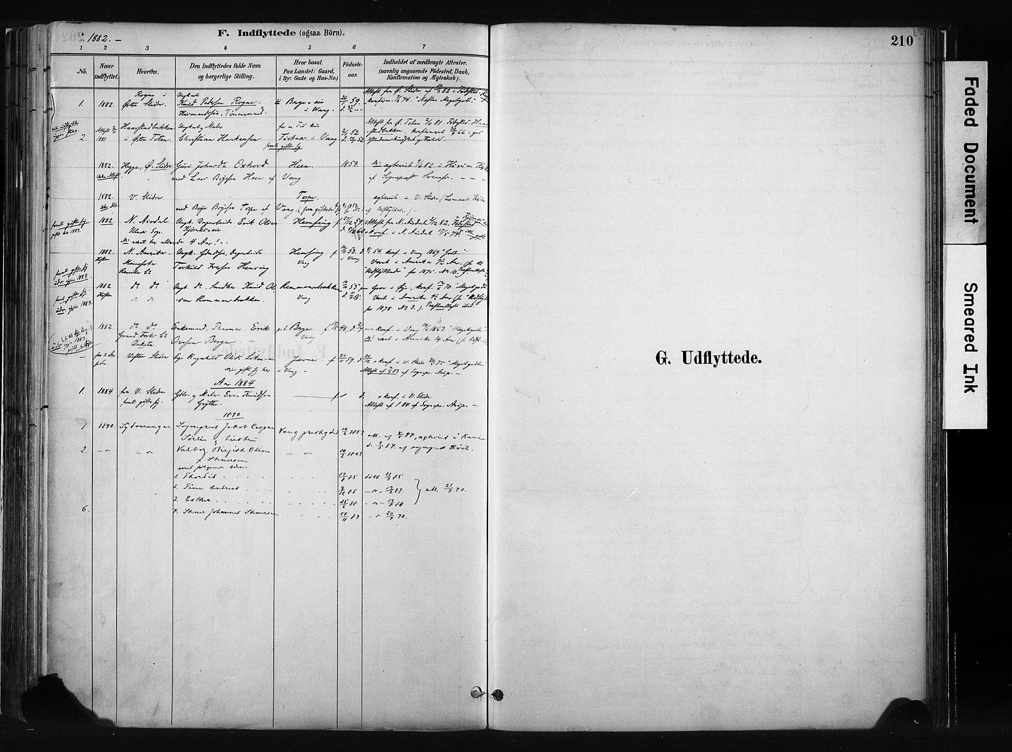 SAH, Vang prestekontor, Valdres, Ministerialbok nr. 8, 1882-1910, s. 210