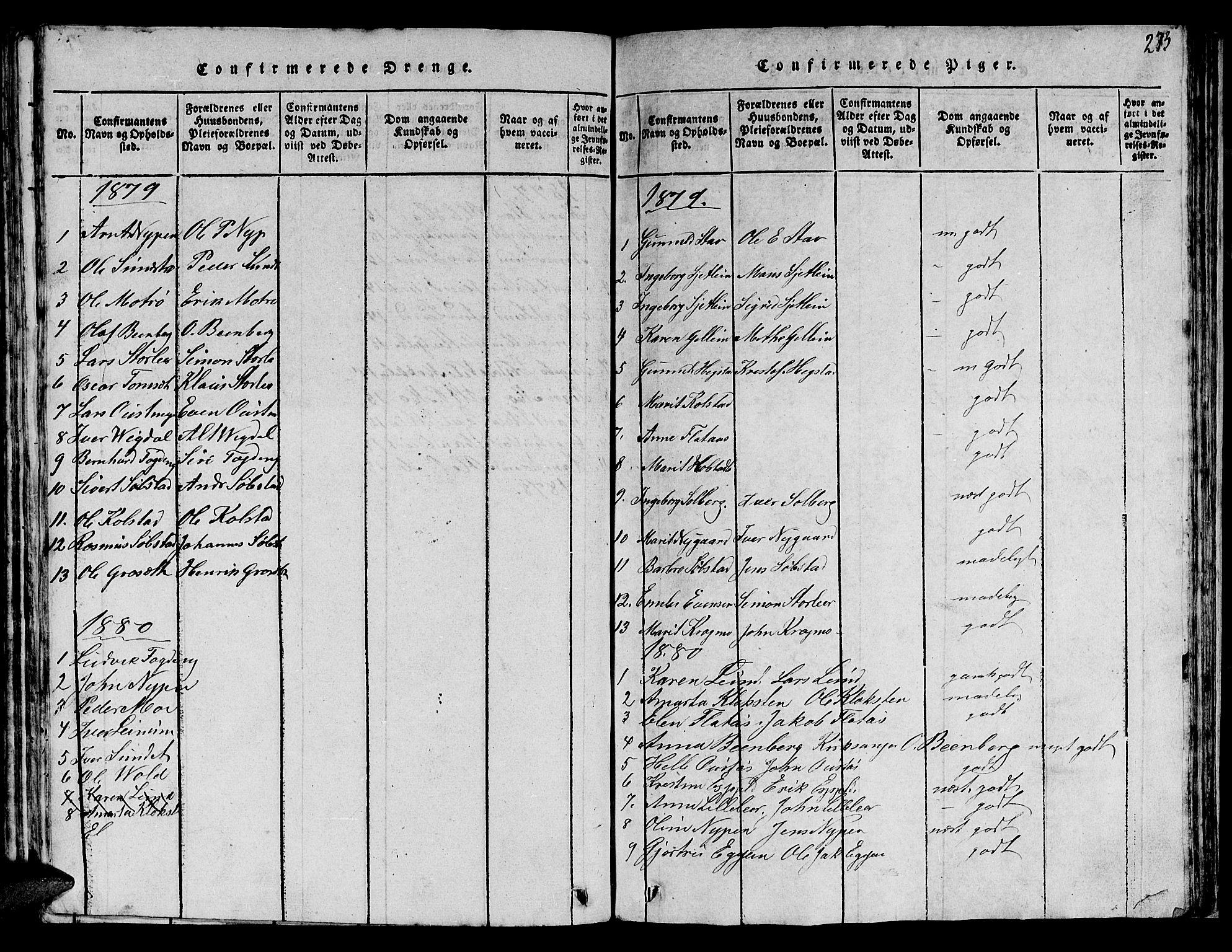 SAT, Ministerialprotokoller, klokkerbøker og fødselsregistre - Sør-Trøndelag, 613/L0393: Klokkerbok nr. 613C01, 1816-1886, s. 273
