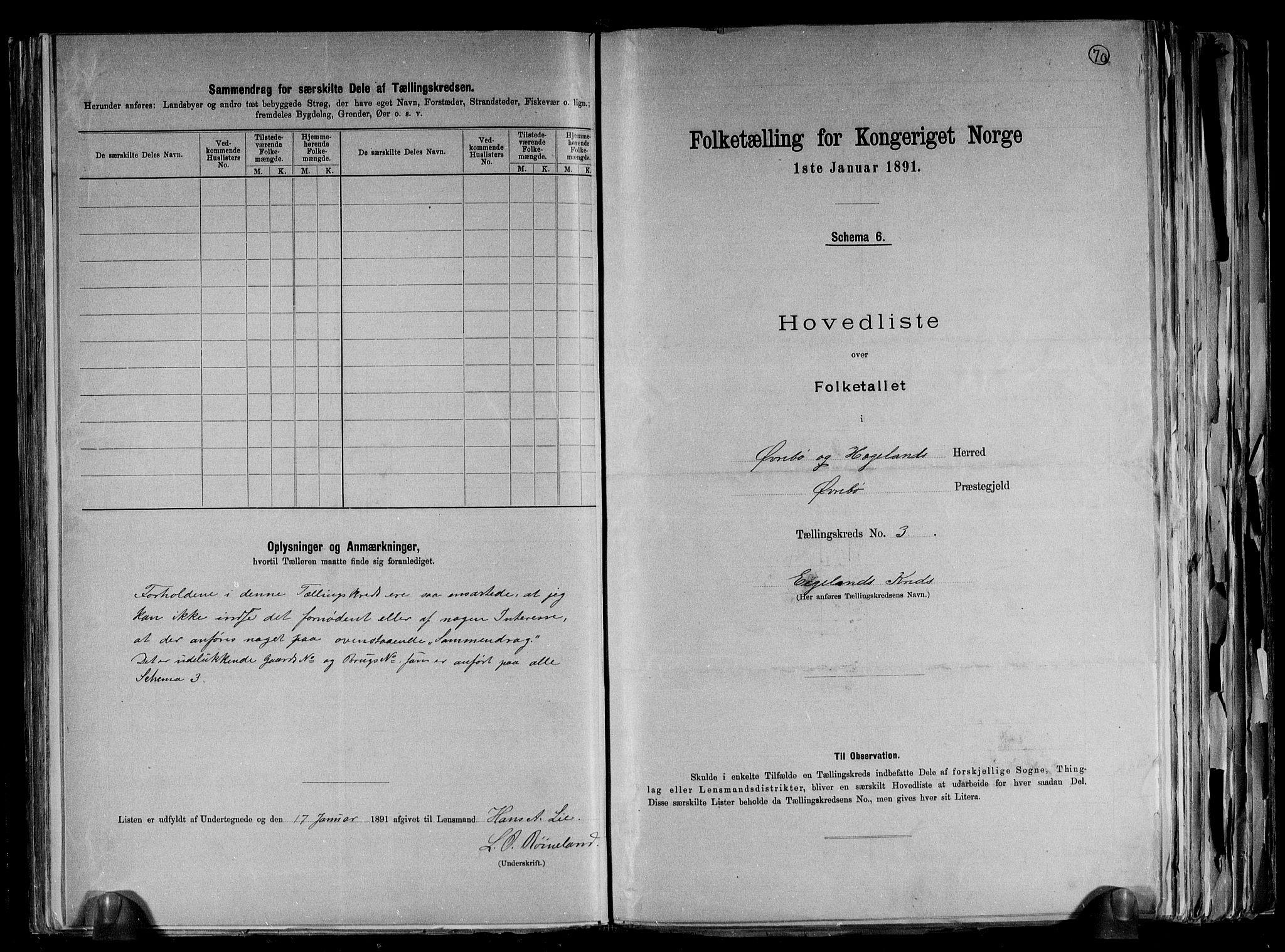 RA, Folketelling 1891 for 1016 Øvrebø og Hægeland herred, 1891, s. 10