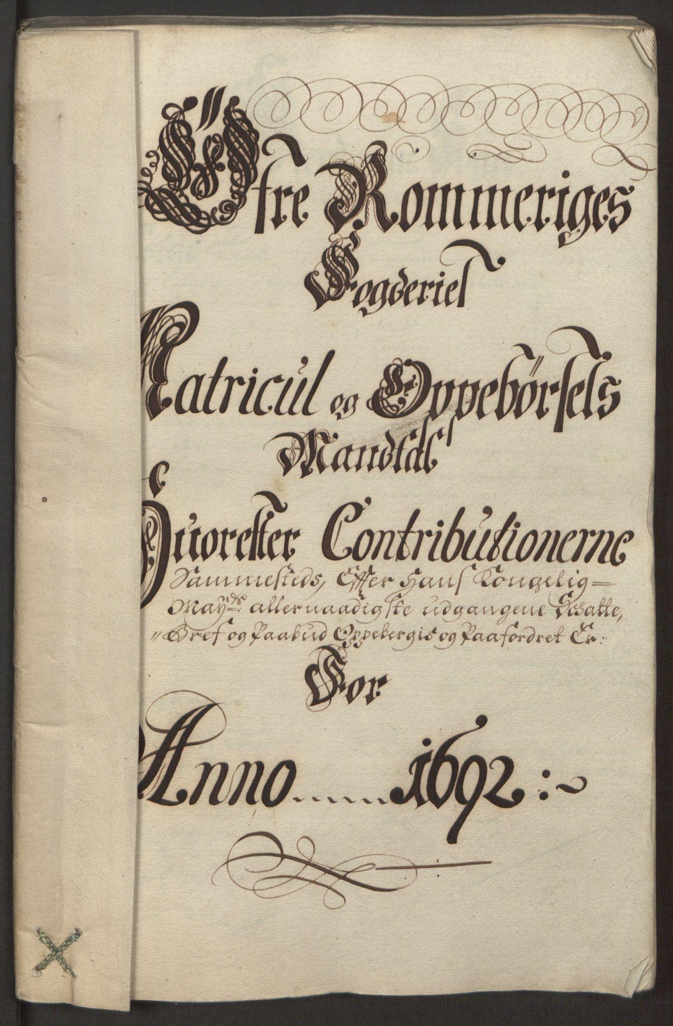 RA, Rentekammeret inntil 1814, Reviderte regnskaper, Fogderegnskap, R12/L0704: Fogderegnskap Øvre Romerike, 1692, s. 76