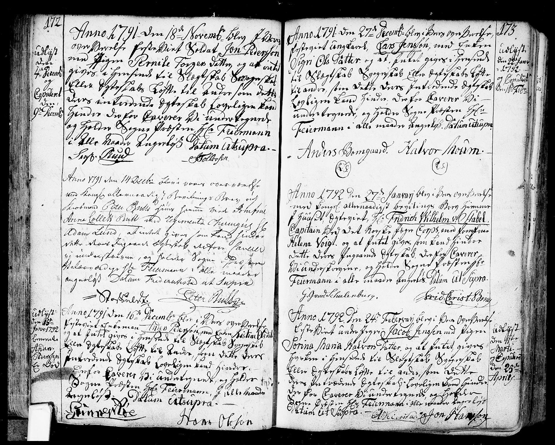 SAO, Fredrikstad prestekontor Kirkebøker, F/Fa/L0002: Ministerialbok nr. 2, 1750-1804, s. 172-173