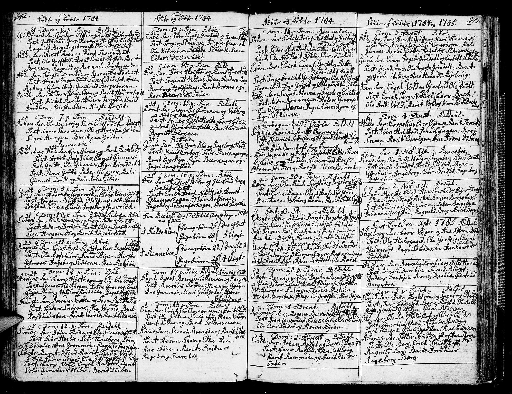 SAT, Ministerialprotokoller, klokkerbøker og fødselsregistre - Sør-Trøndelag, 672/L0852: Ministerialbok nr. 672A05, 1776-1815, s. 342-343