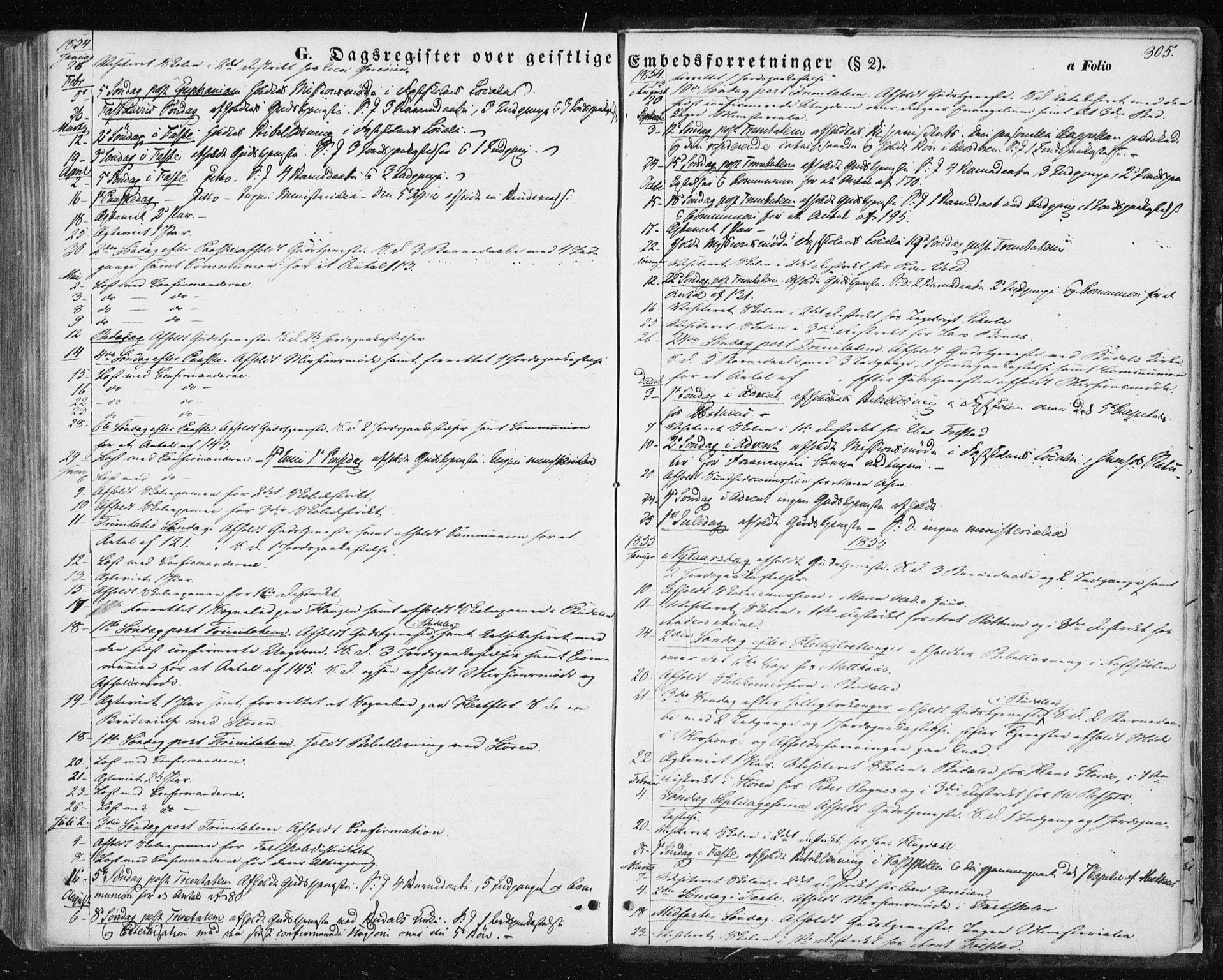 SAT, Ministerialprotokoller, klokkerbøker og fødselsregistre - Sør-Trøndelag, 687/L1000: Ministerialbok nr. 687A06, 1848-1869, s. 305