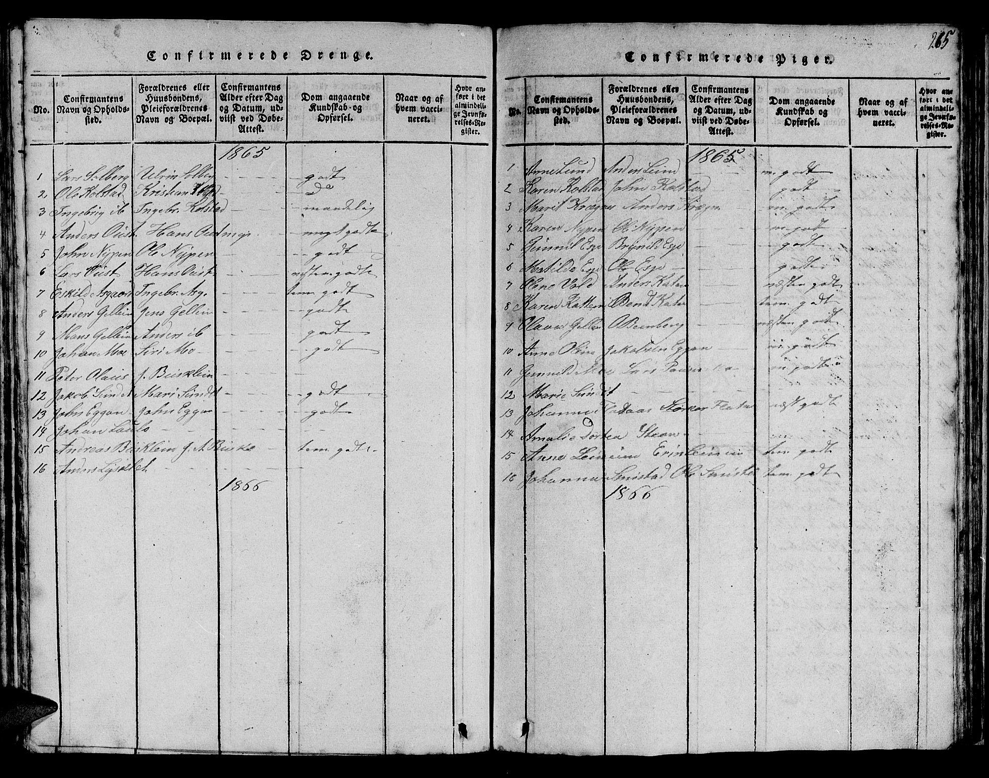 SAT, Ministerialprotokoller, klokkerbøker og fødselsregistre - Sør-Trøndelag, 613/L0393: Klokkerbok nr. 613C01, 1816-1886, s. 265